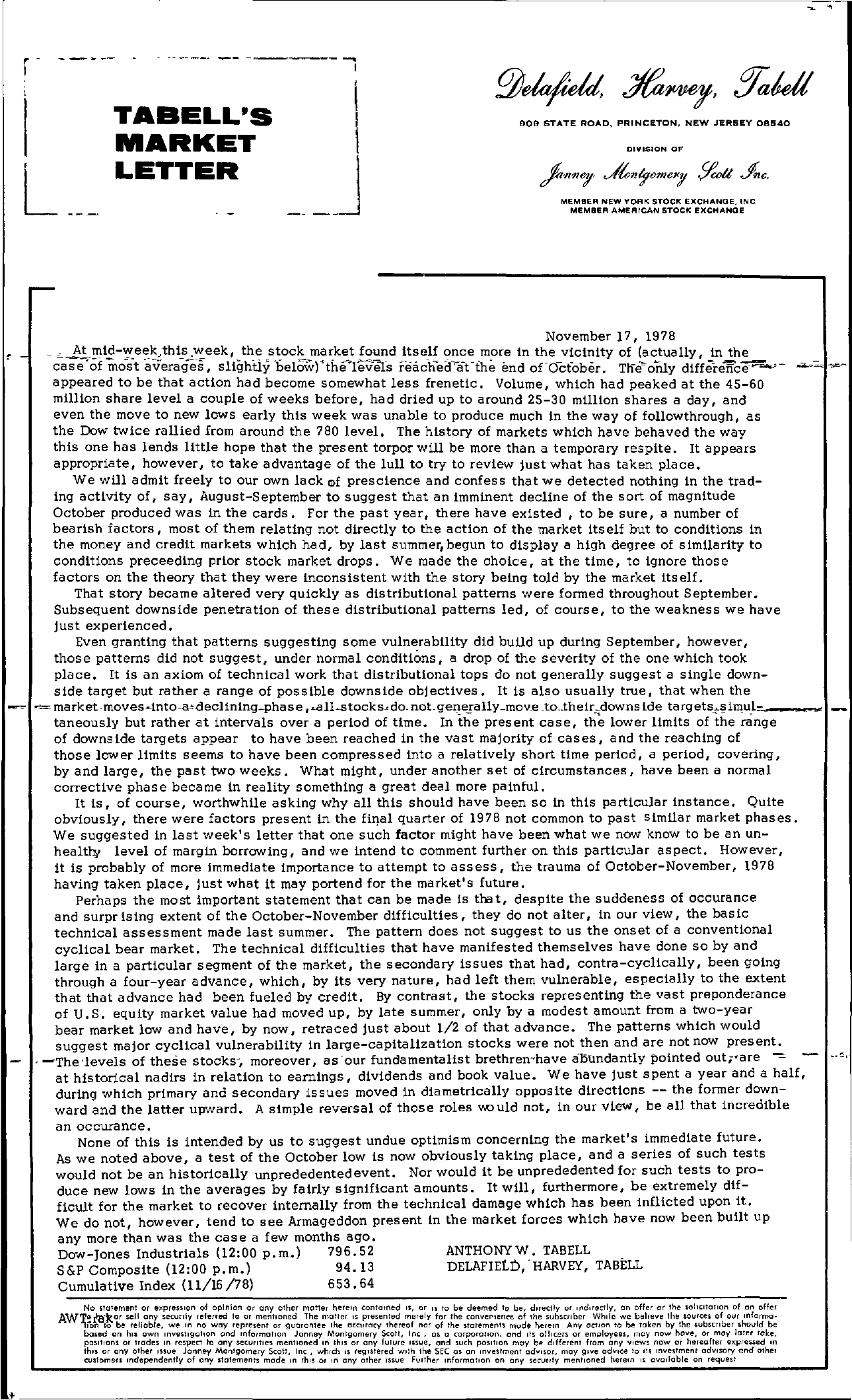 Tabell's Market Letter - November 17, 1978 page 1