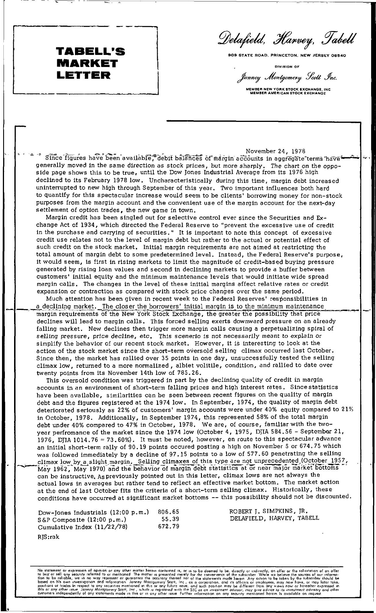 Tabell's Market Letter - November 24, 1978