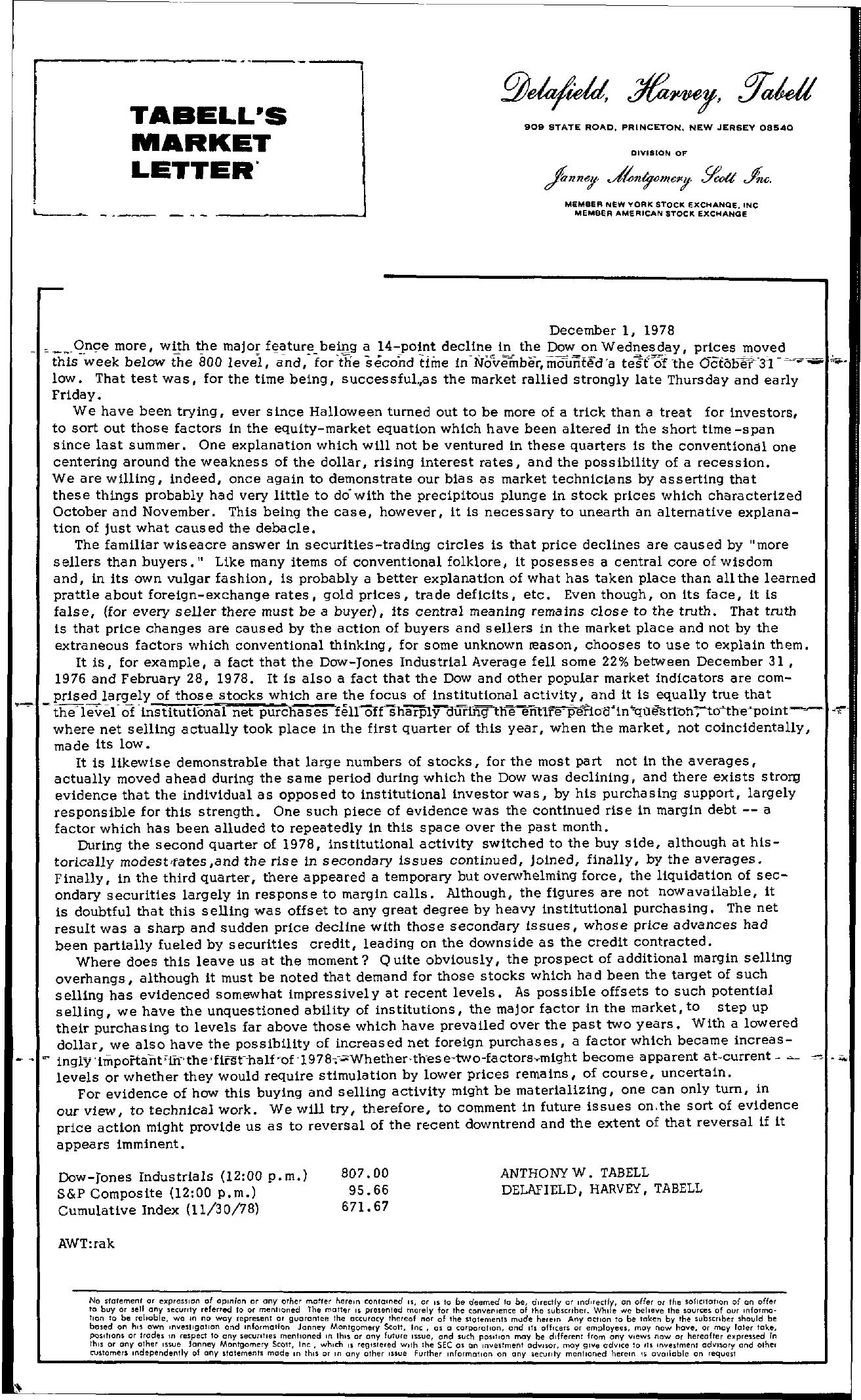 Tabell's Market Letter - December 01, 1978