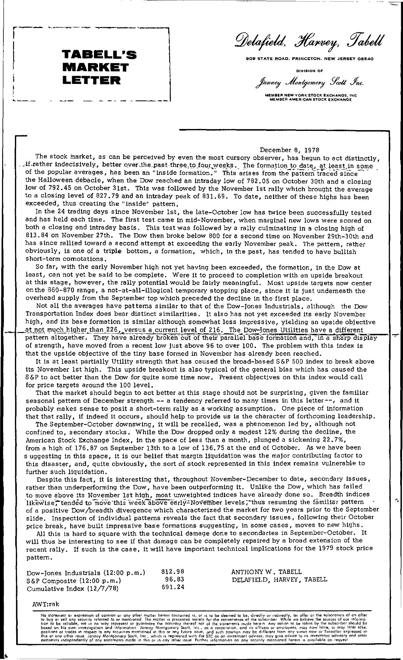 Tabell's Market Letter - December 08, 1978