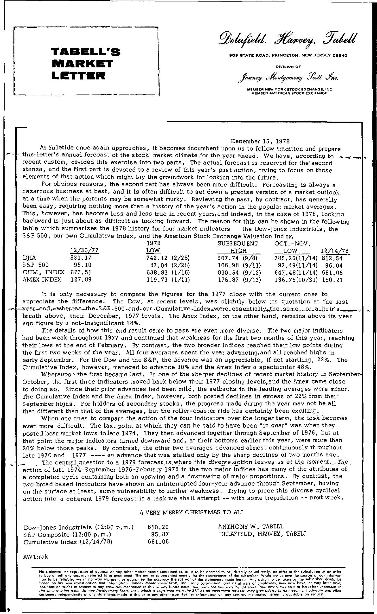 Tabell's Market Letter - December 15, 1978