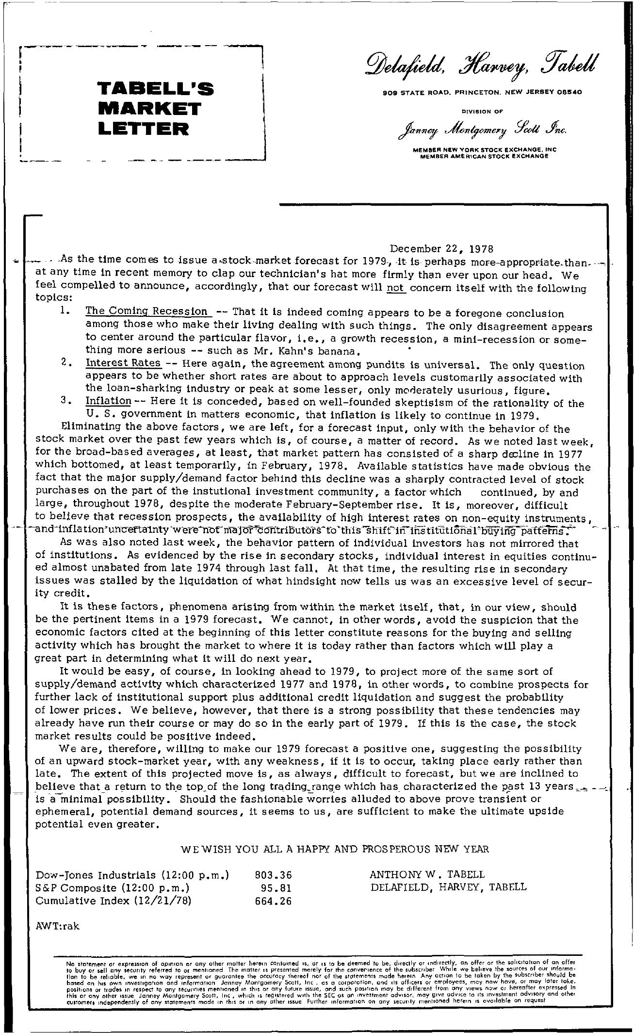 Tabell's Market Letter - December 22, 1978