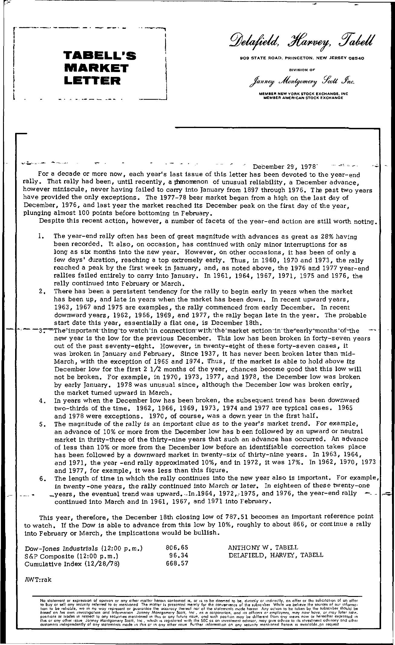 Tabell's Market Letter - December 29, 1978