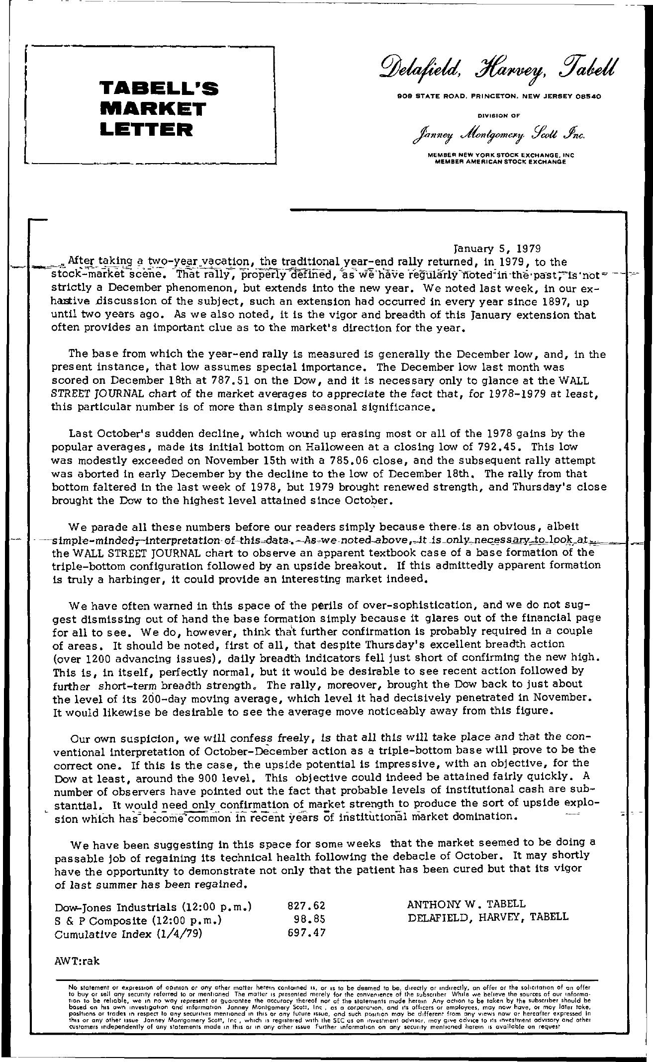 Tabell's Market Letter - January 05, 1979