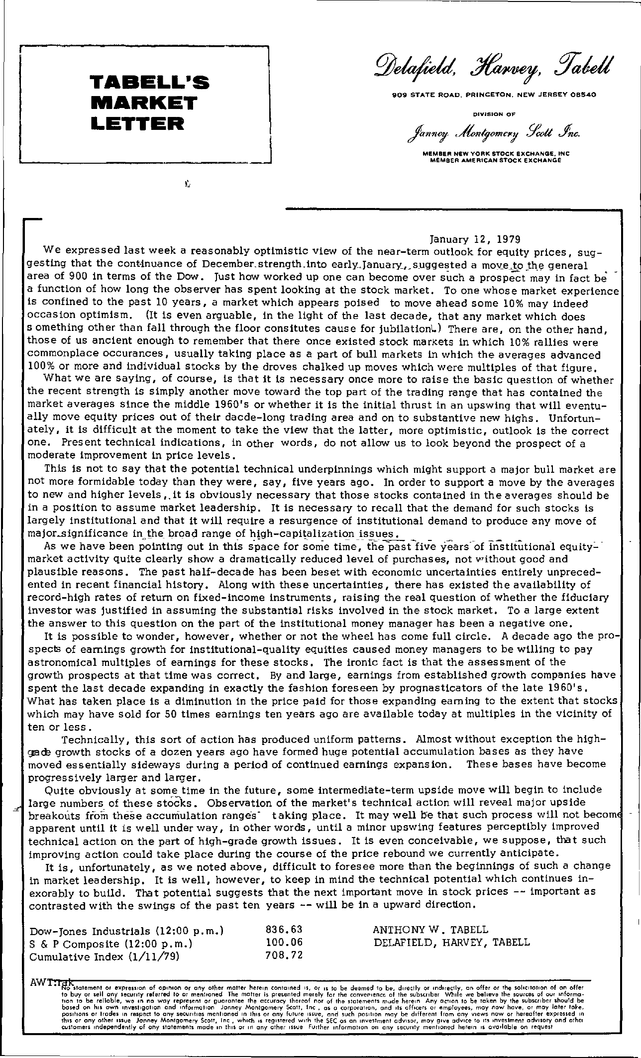 Tabell's Market Letter - January 12, 1979
