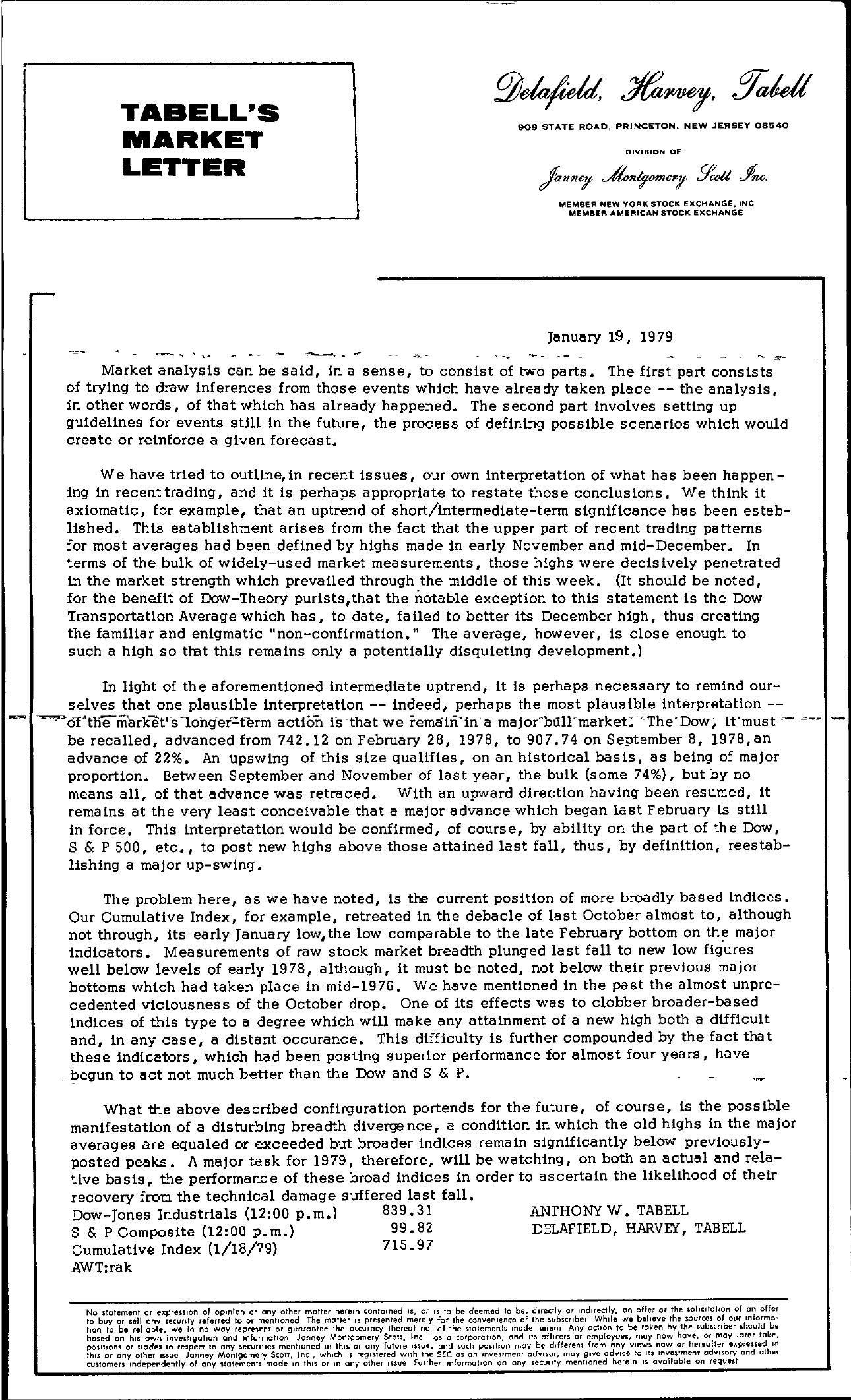 Tabell's Market Letter - January 19, 1979