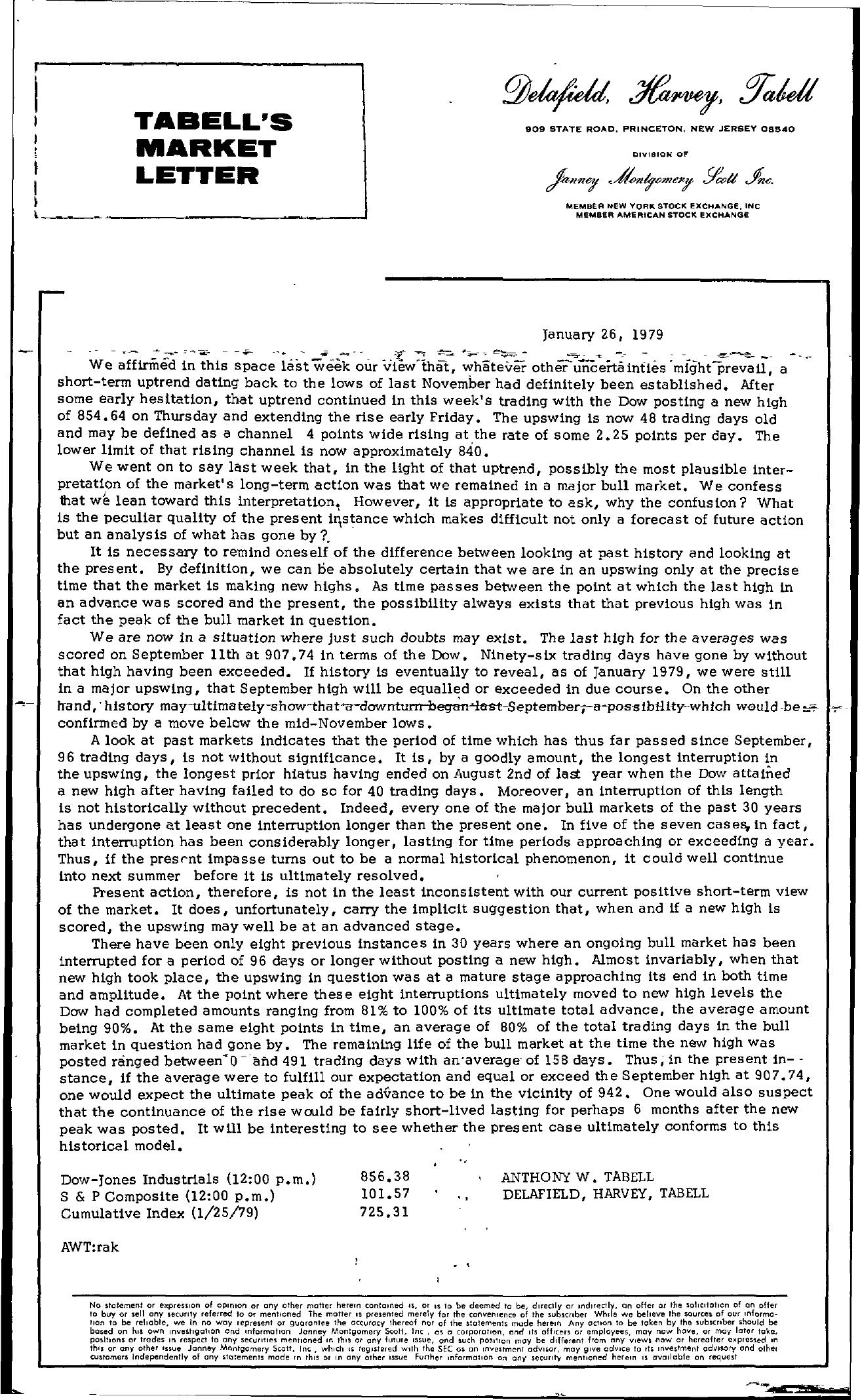 Tabell's Market Letter - January 26, 1979