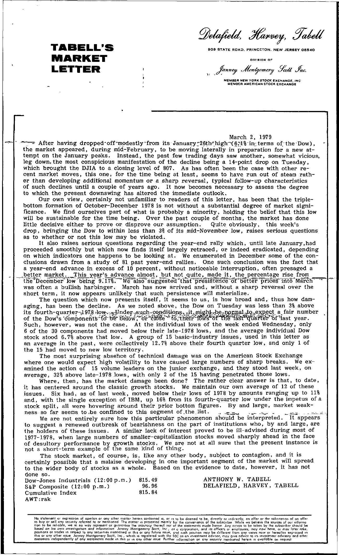 Tabell's Market Letter - March 02, 1979