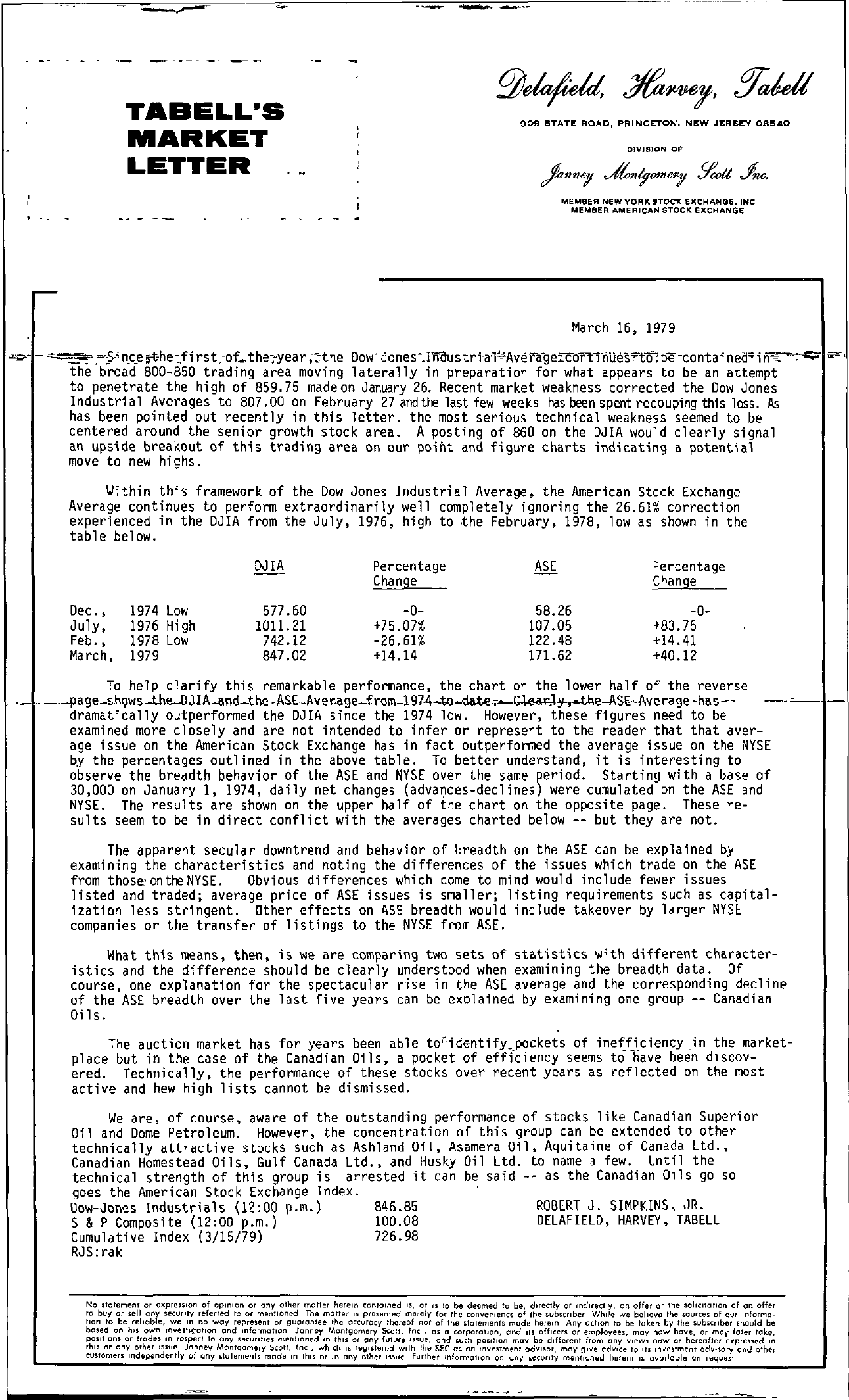 Tabell's Market Letter - March 16, 1979 page 1