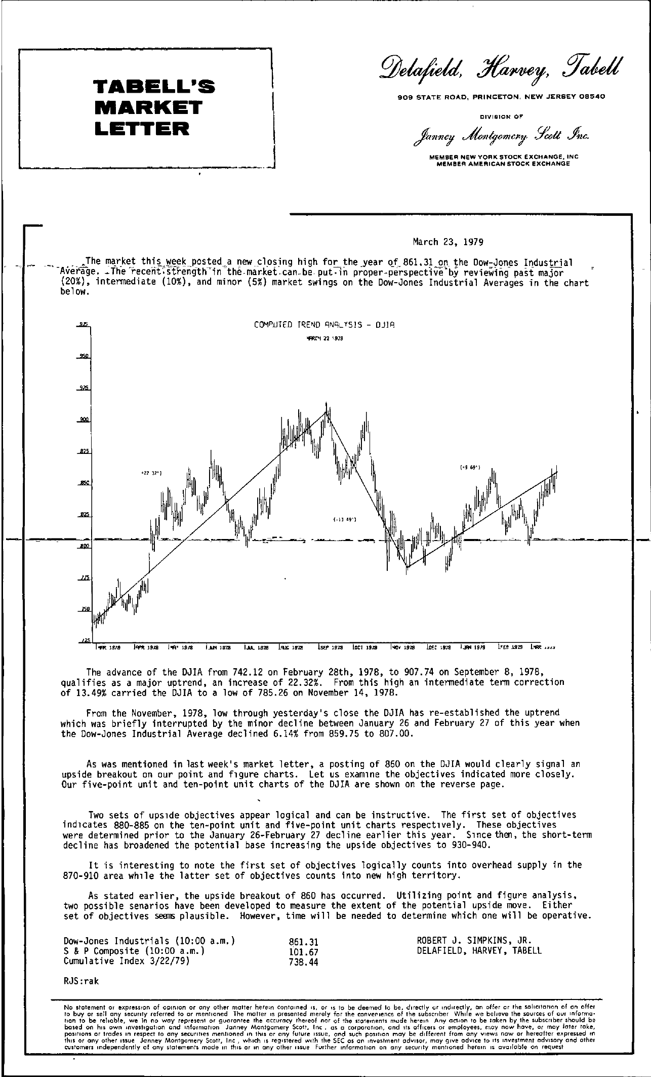 Tabell's Market Letter - March 23, 1979 page 1