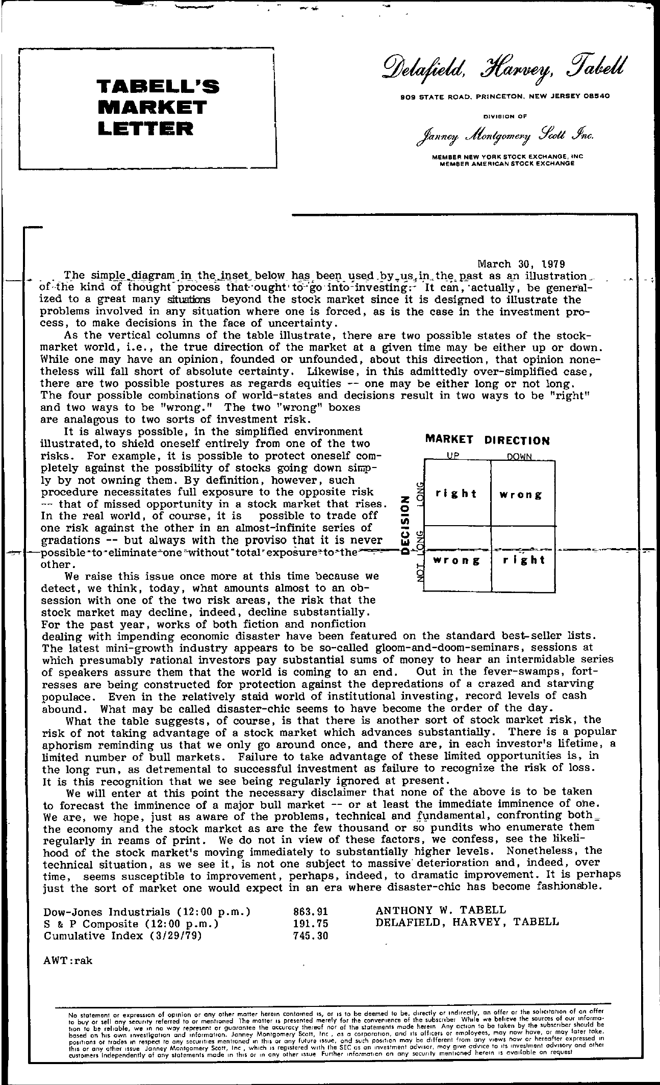 Tabell's Market Letter - March 30, 1979