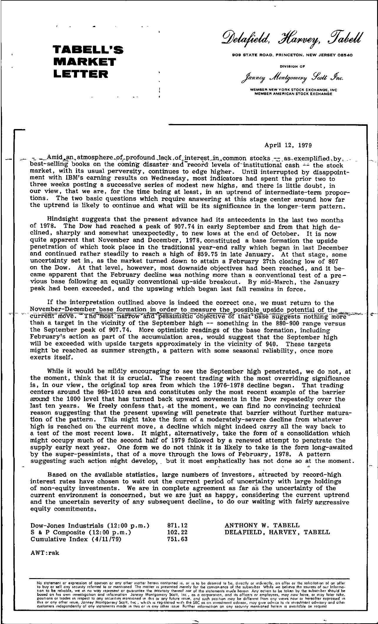 Tabell's Market Letter - April 12, 1979