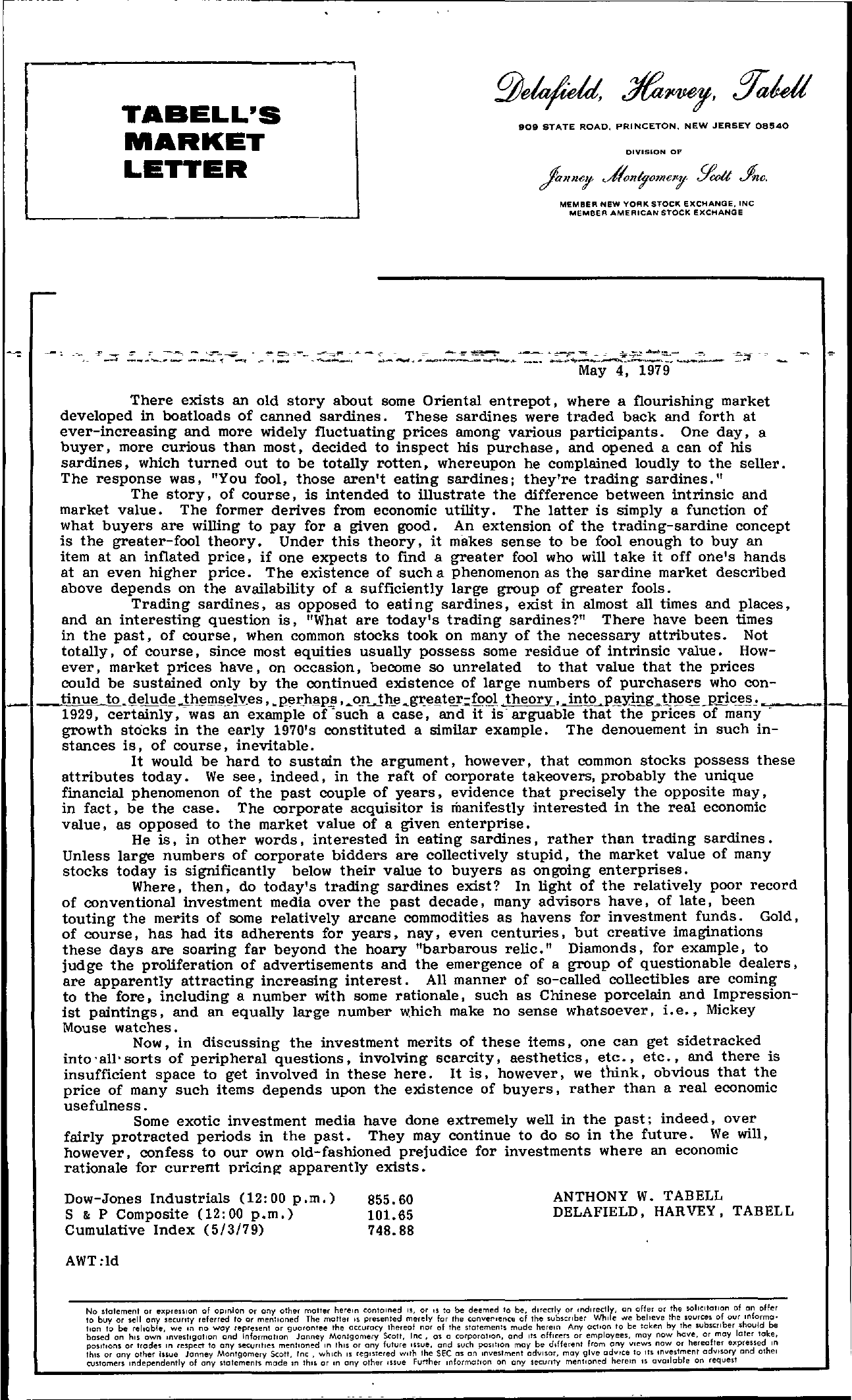 Tabell's Market Letter - May 04, 1979