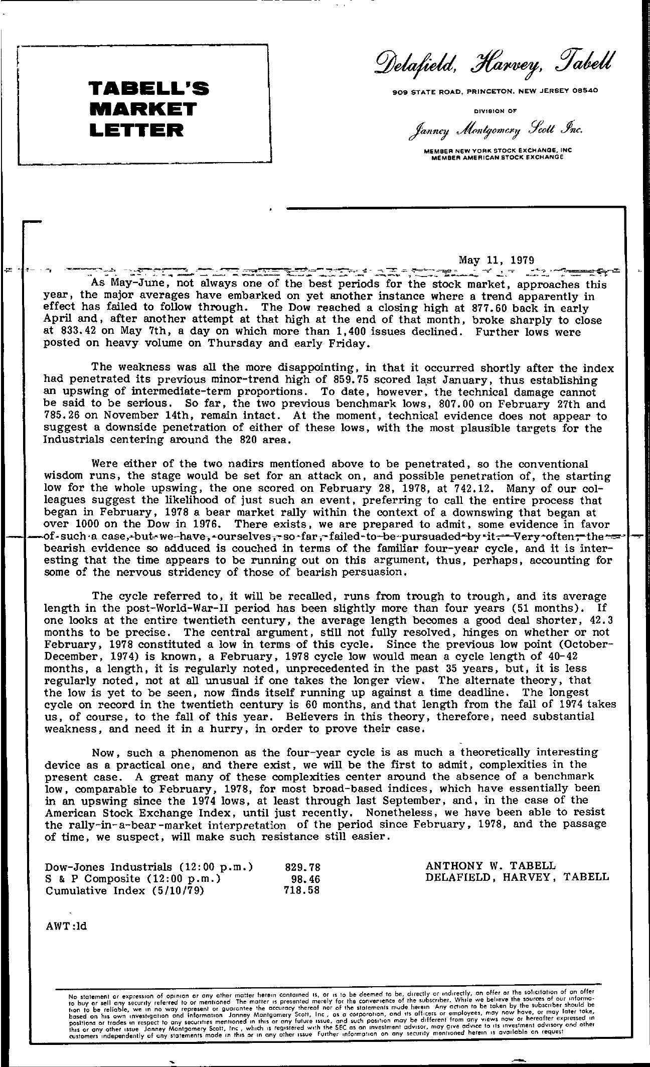 Tabell's Market Letter - May 11, 1979