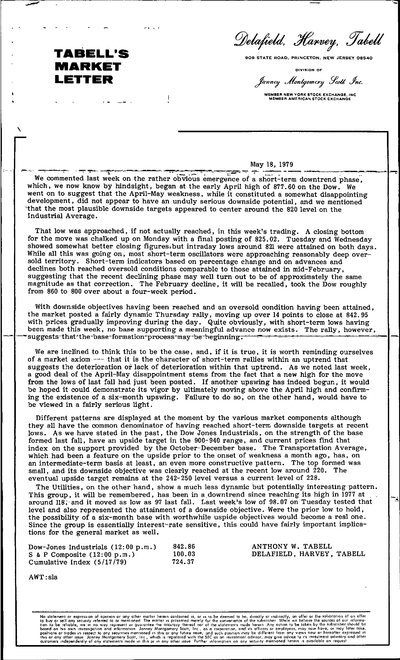 Tabell's Market Letter - May 18, 1979