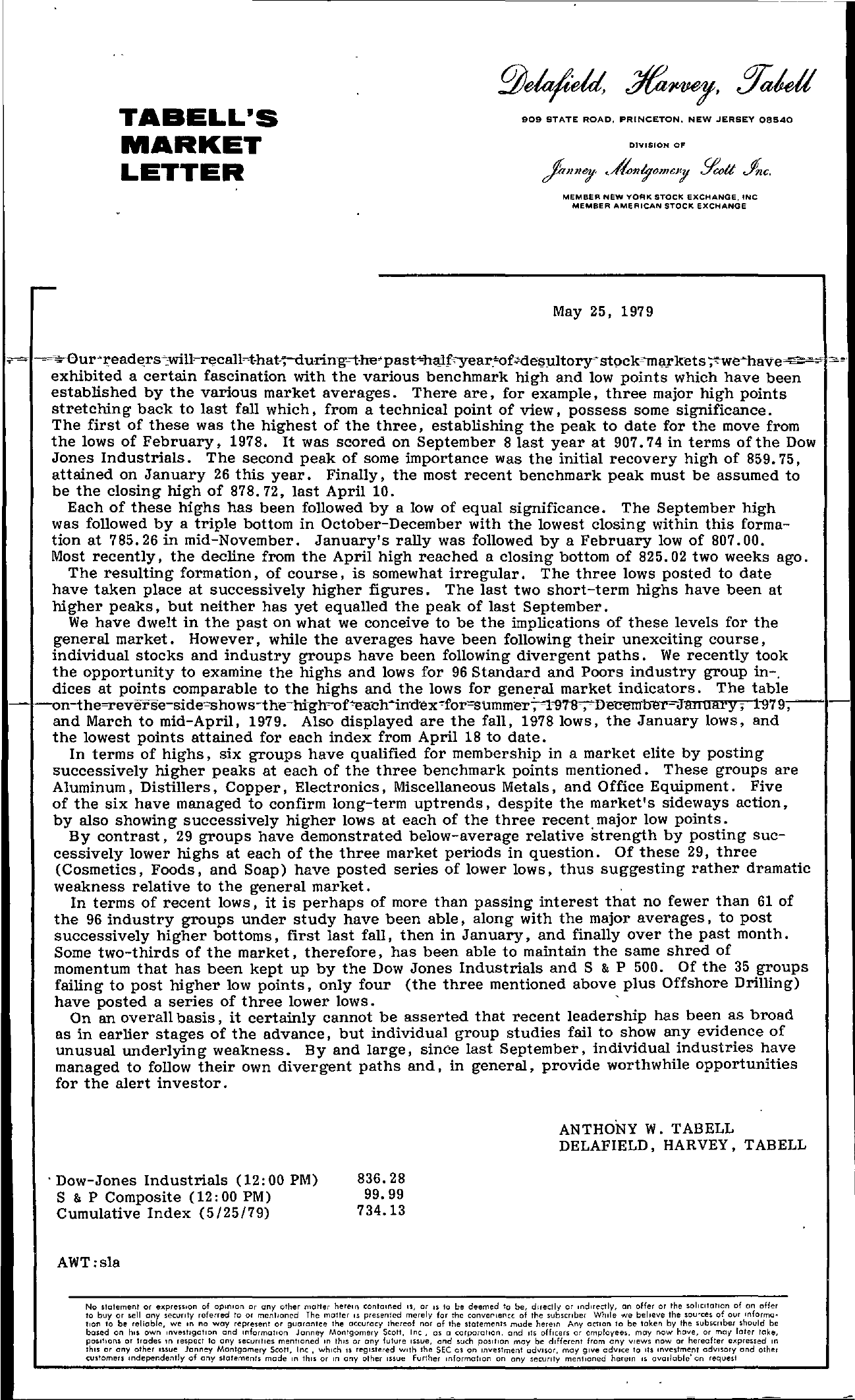 Tabell's Market Letter - May 25, 1979 page 1