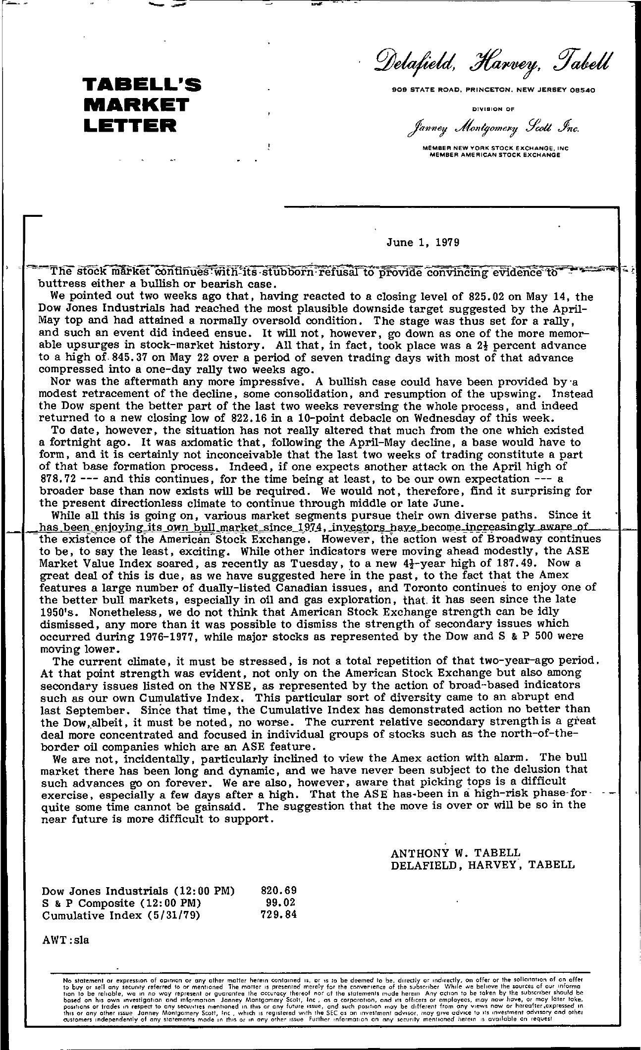 Tabell's Market Letter - June 01, 1979