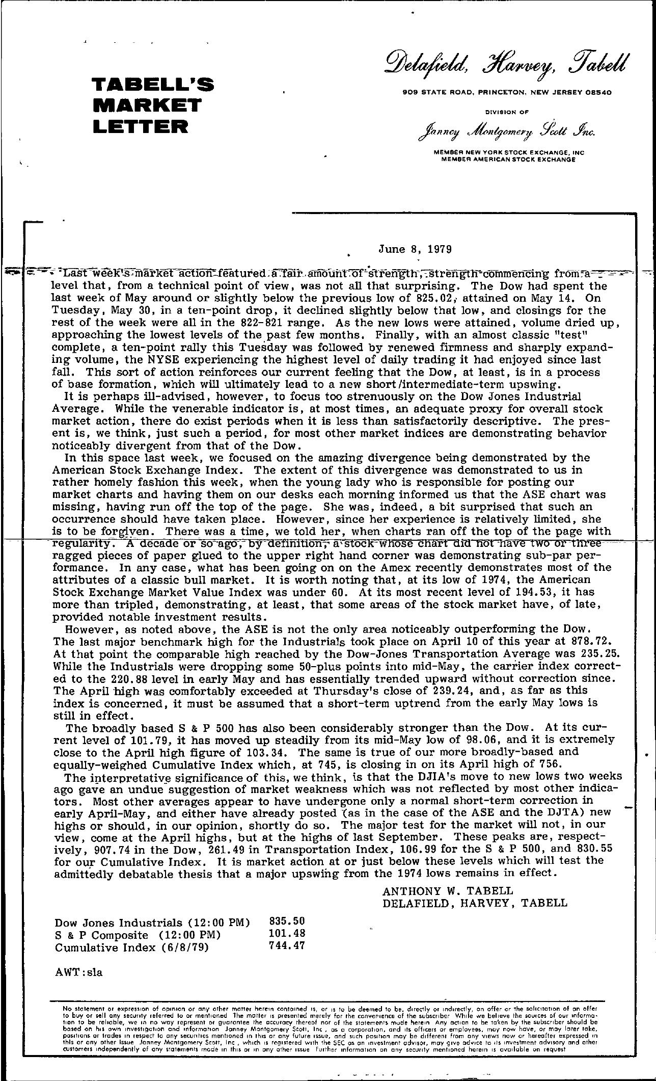 Tabell's Market Letter - June 08, 1979