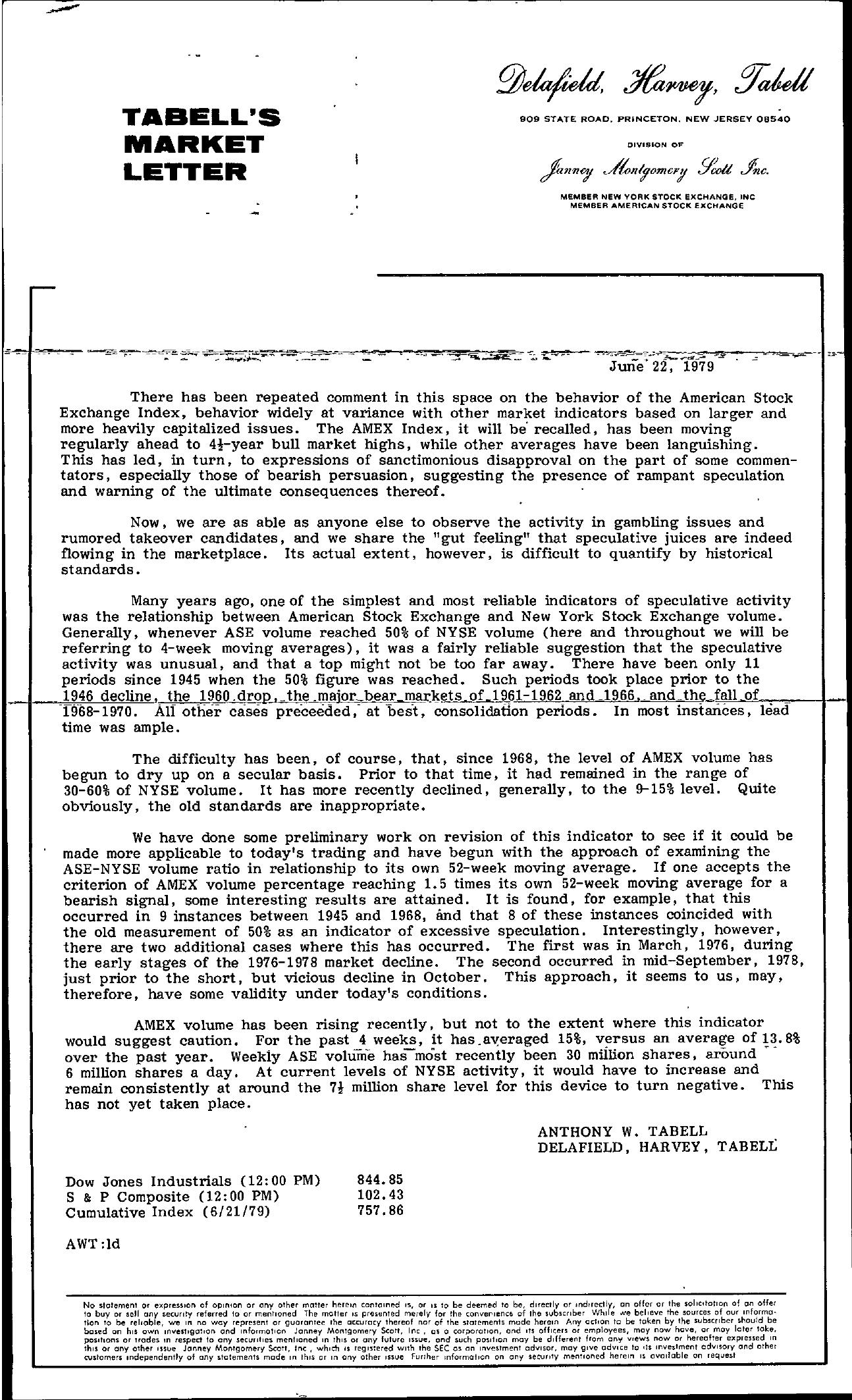 Tabell's Market Letter - June 22, 1979