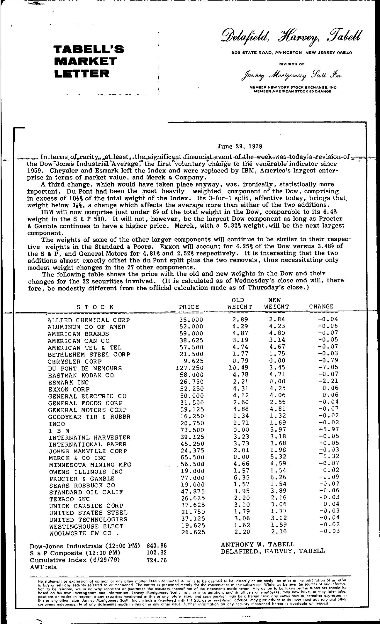 Tabell's Market Letter - June 29, 1979