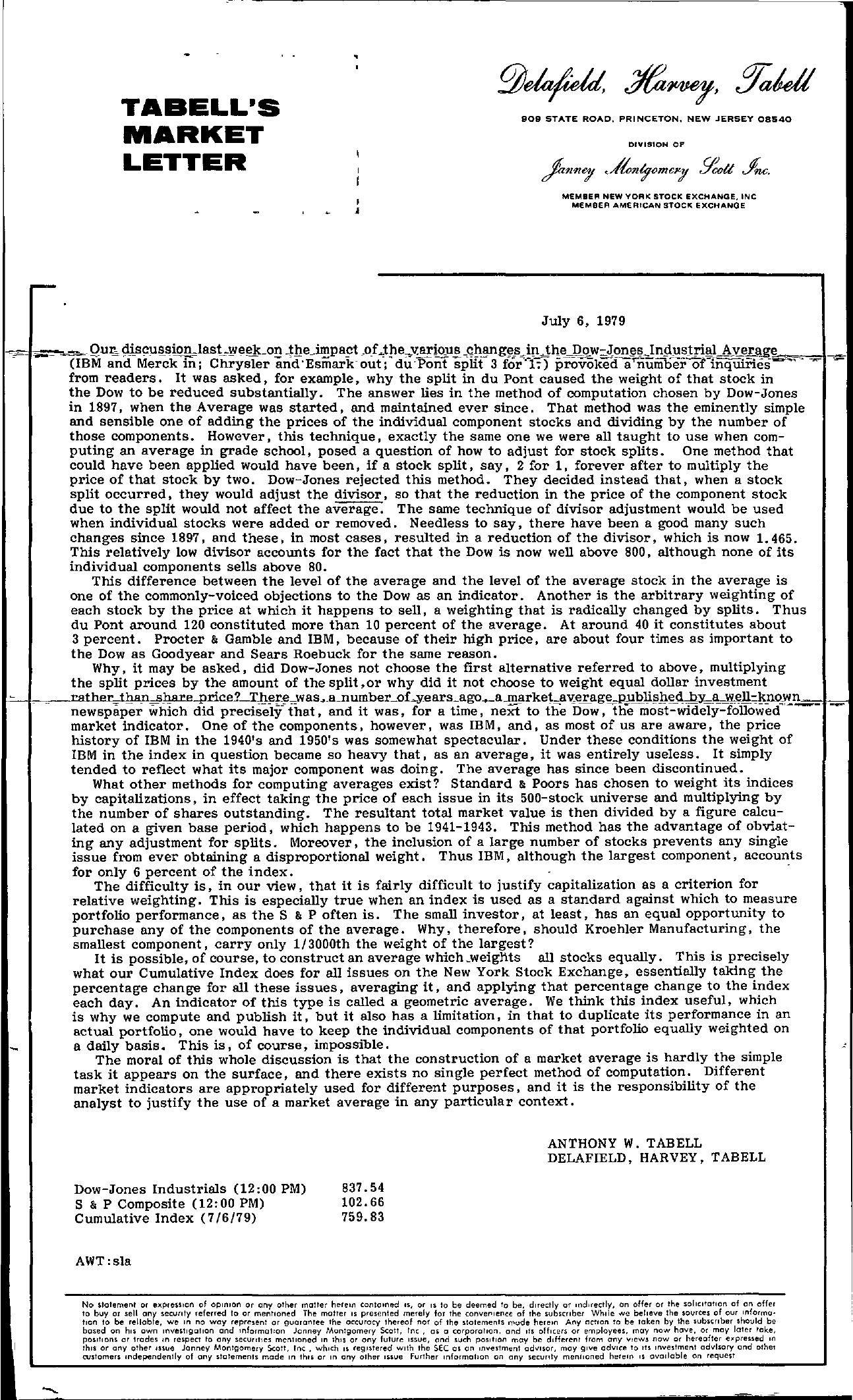 Tabell's Market Letter - July 06, 1979