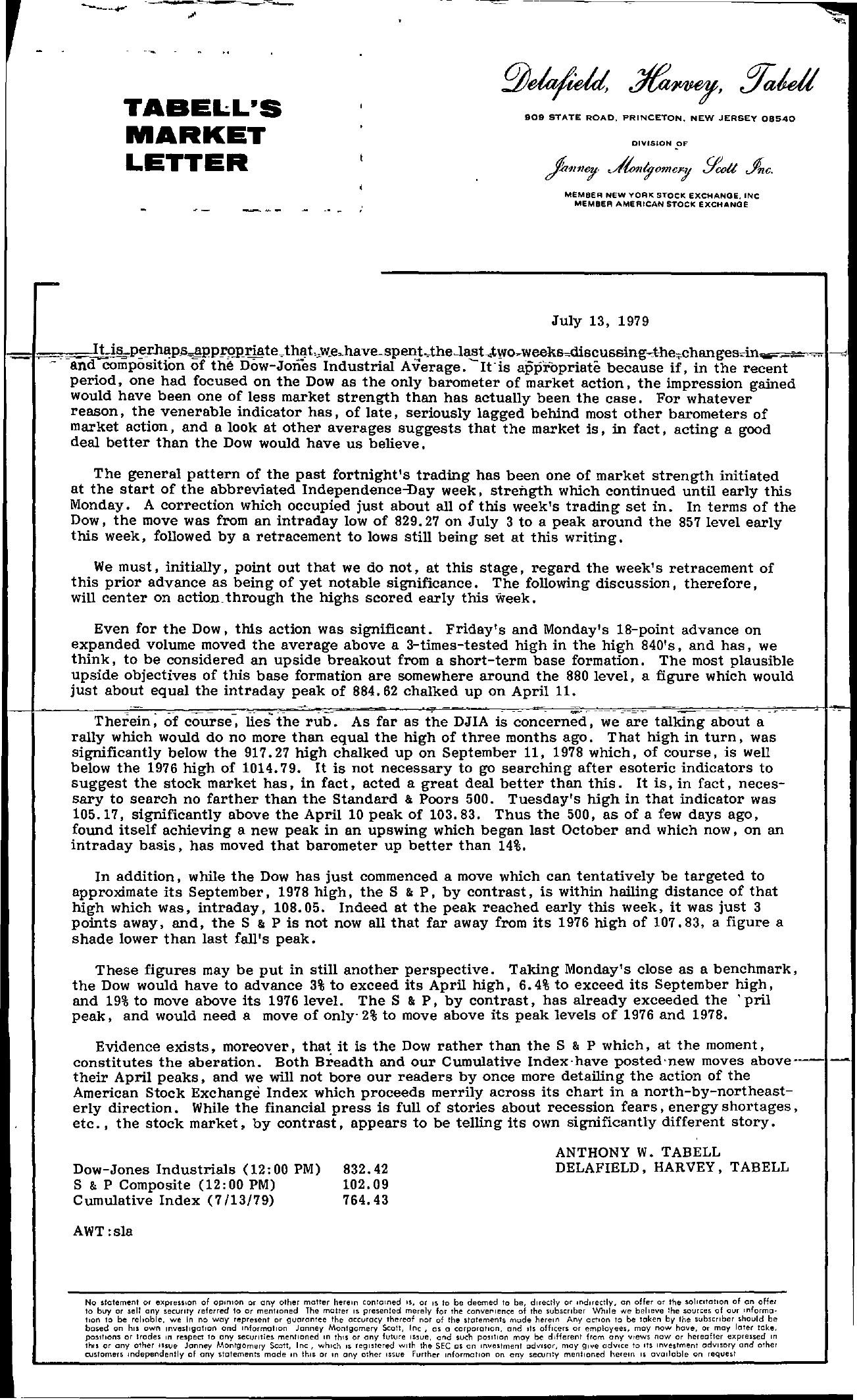 Tabell's Market Letter - July 13, 1979