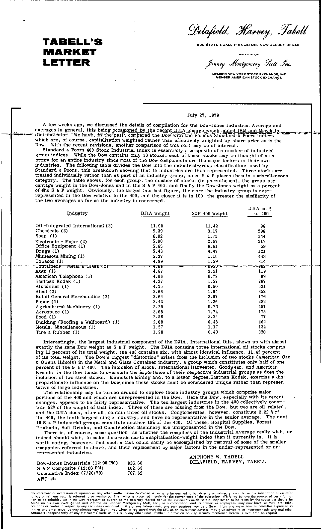 Tabell's Market Letter - July 27, 1979