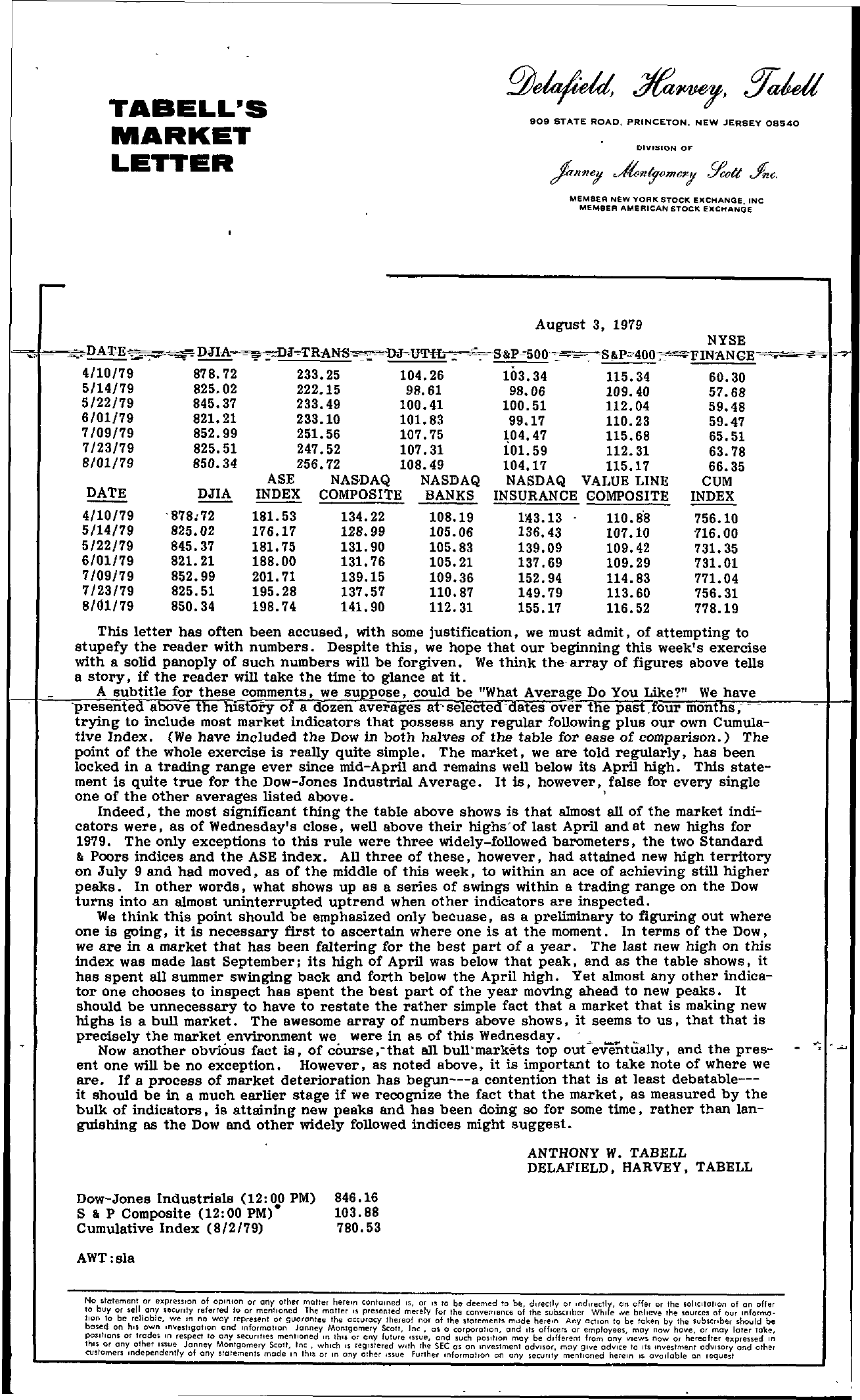 Tabell's Market Letter - August 03, 1979