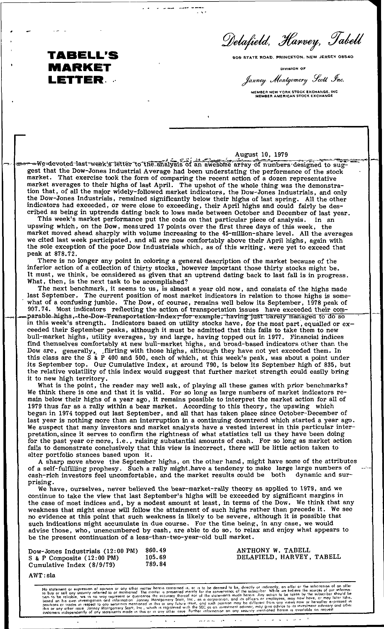 Tabell's Market Letter - August 10, 1979