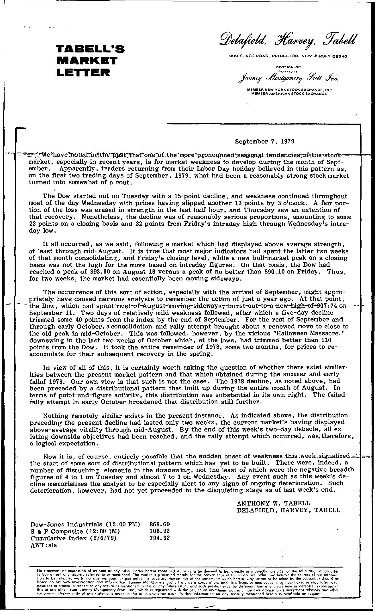 Tabell's Market Letter - September 07, 1979
