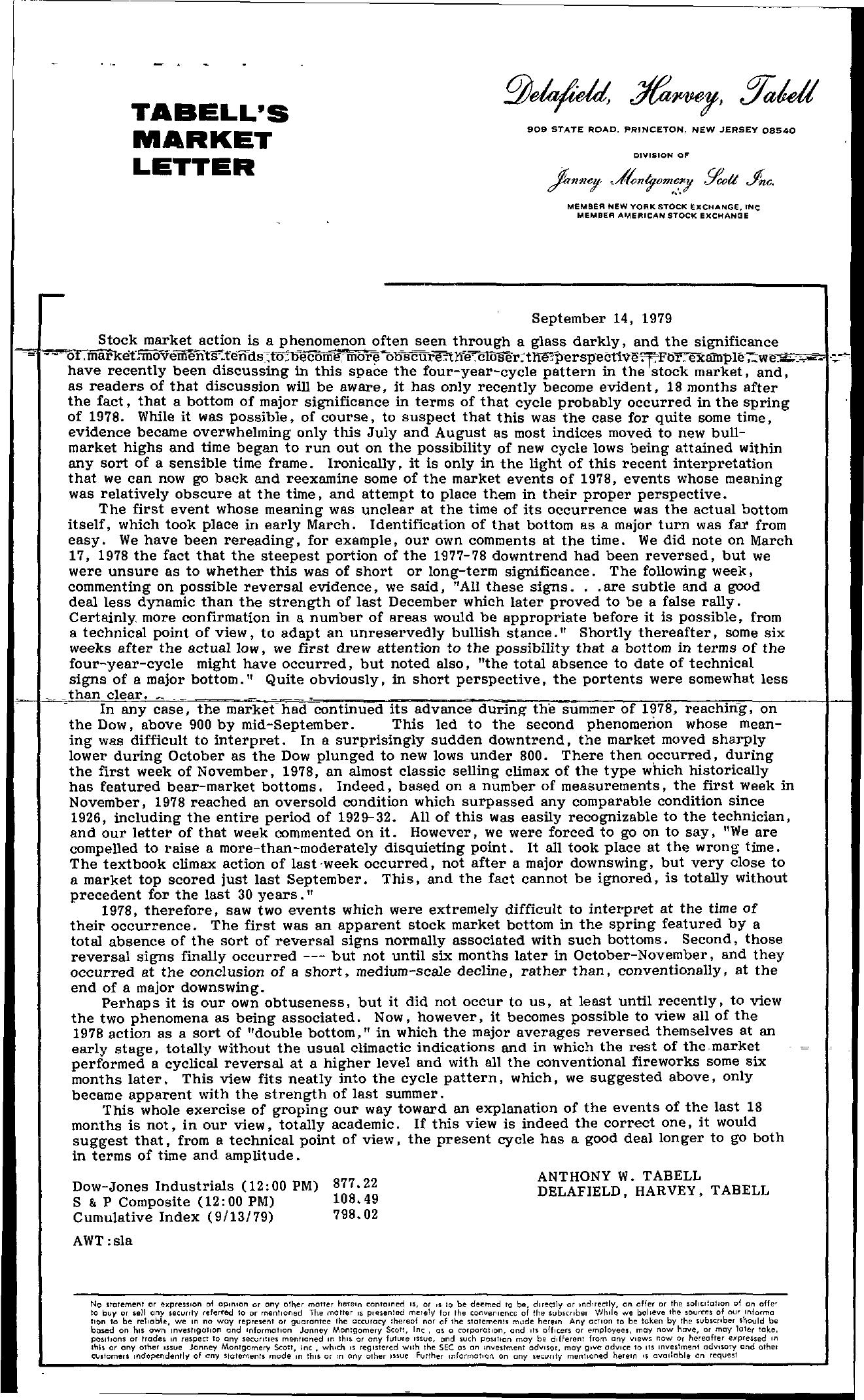 Tabell's Market Letter - September 14, 1979