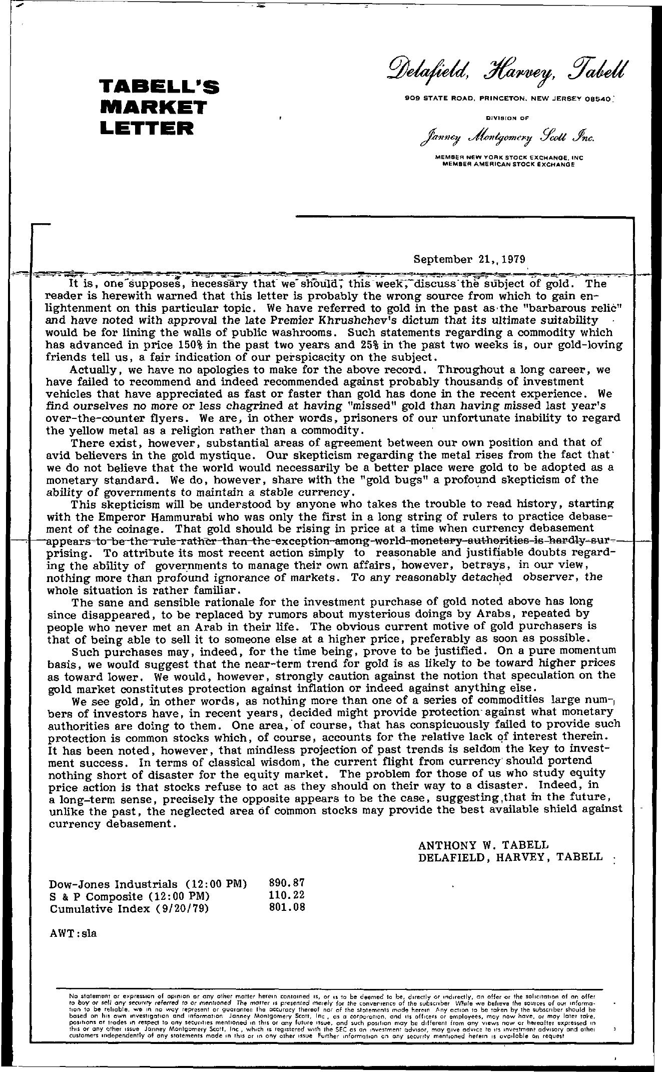 Tabell's Market Letter - September 21, 1979