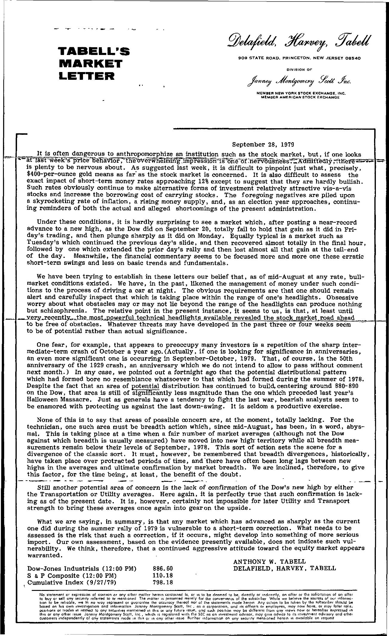 Tabell's Market Letter - September 28, 1979