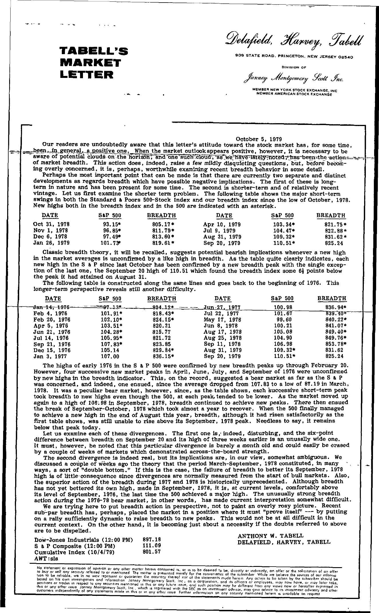 Tabell's Market Letter - October 05, 1979
