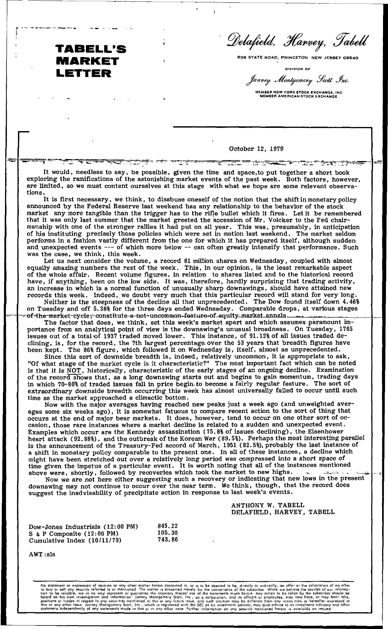 Tabell's Market Letter - October 12, 1979
