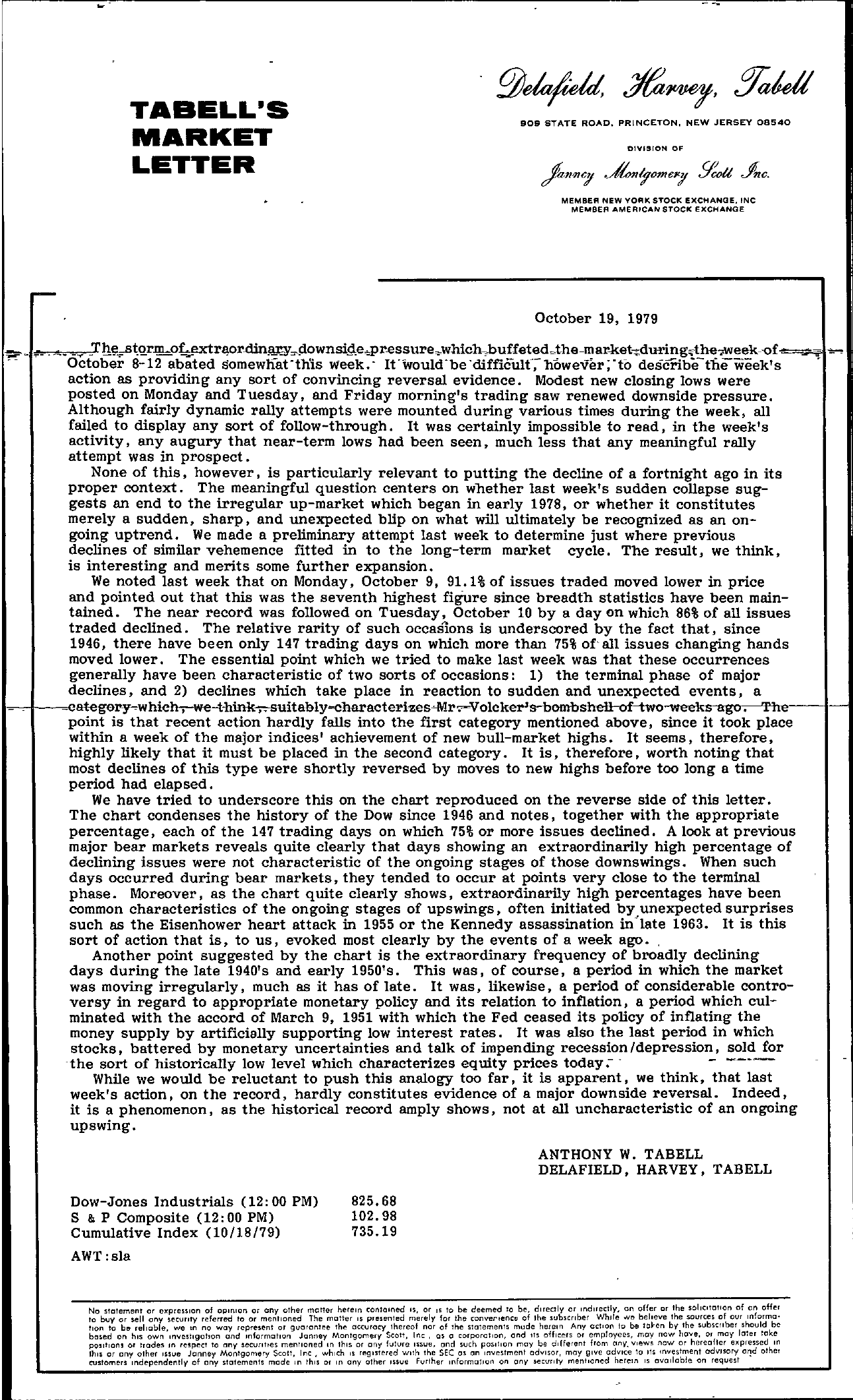 Tabell's Market Letter - October 19, 1979 page 1