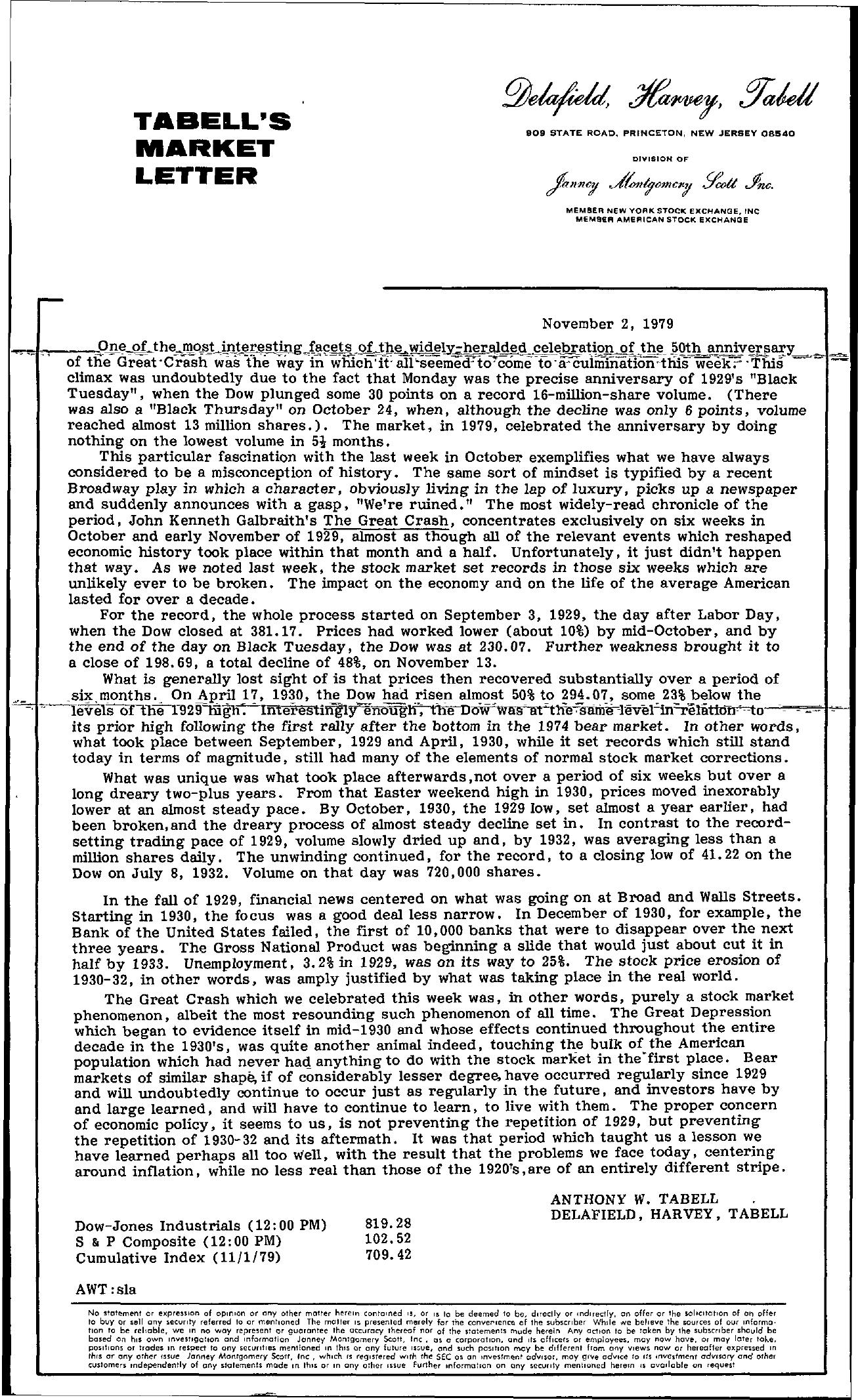 Tabell's Market Letter - November 02, 1979
