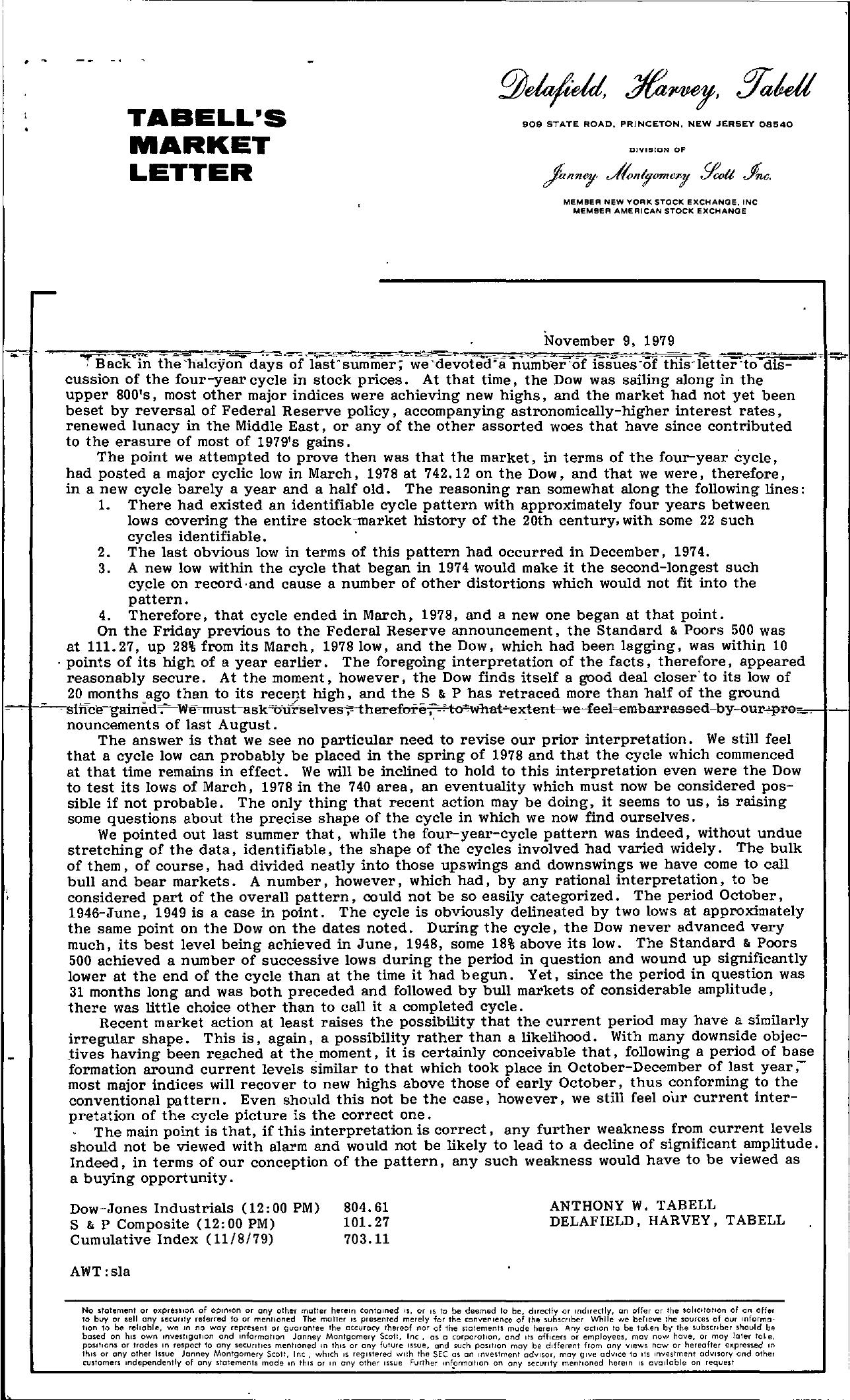 Tabell's Market Letter - November 09, 1979