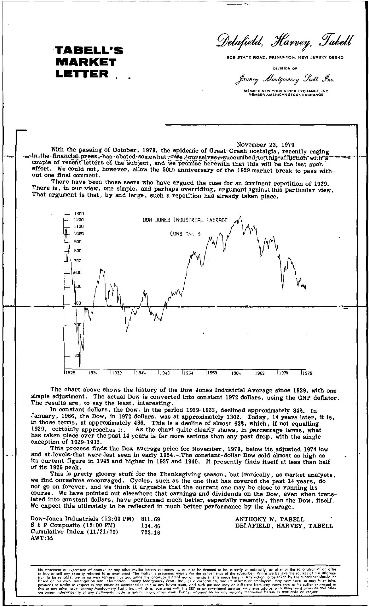 Tabell's Market Letter - November 23, 1979