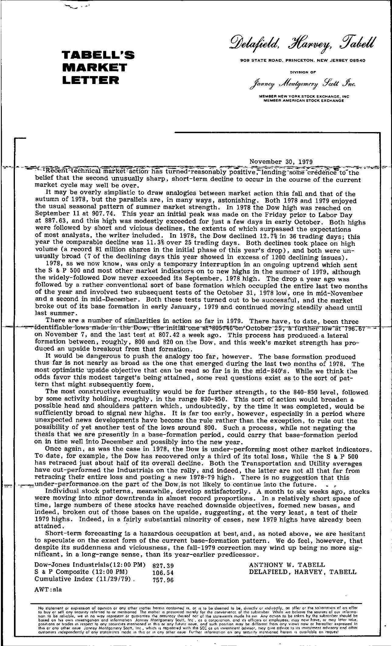 Tabell's Market Letter - November 30, 1979