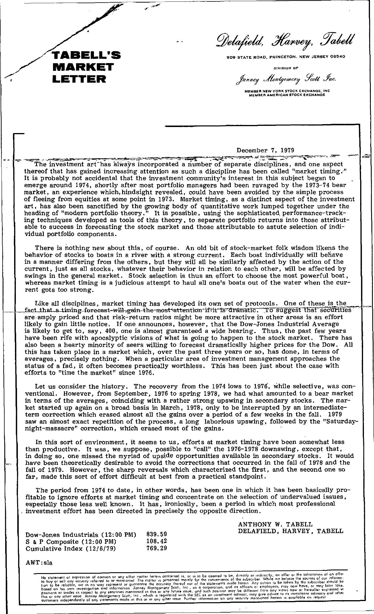 Tabell's Market Letter - December 07, 1979