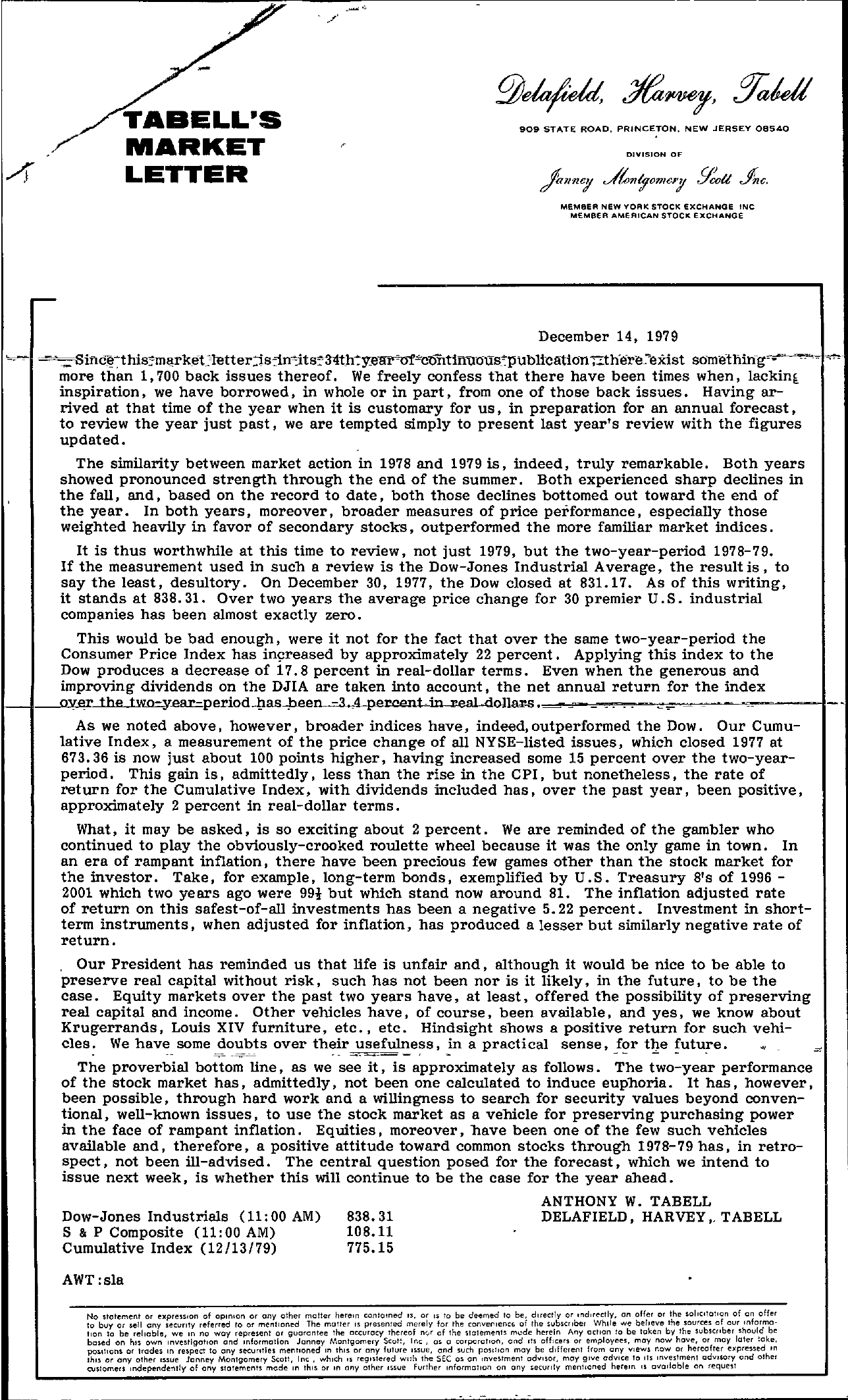 Tabell's Market Letter - December 14, 1979