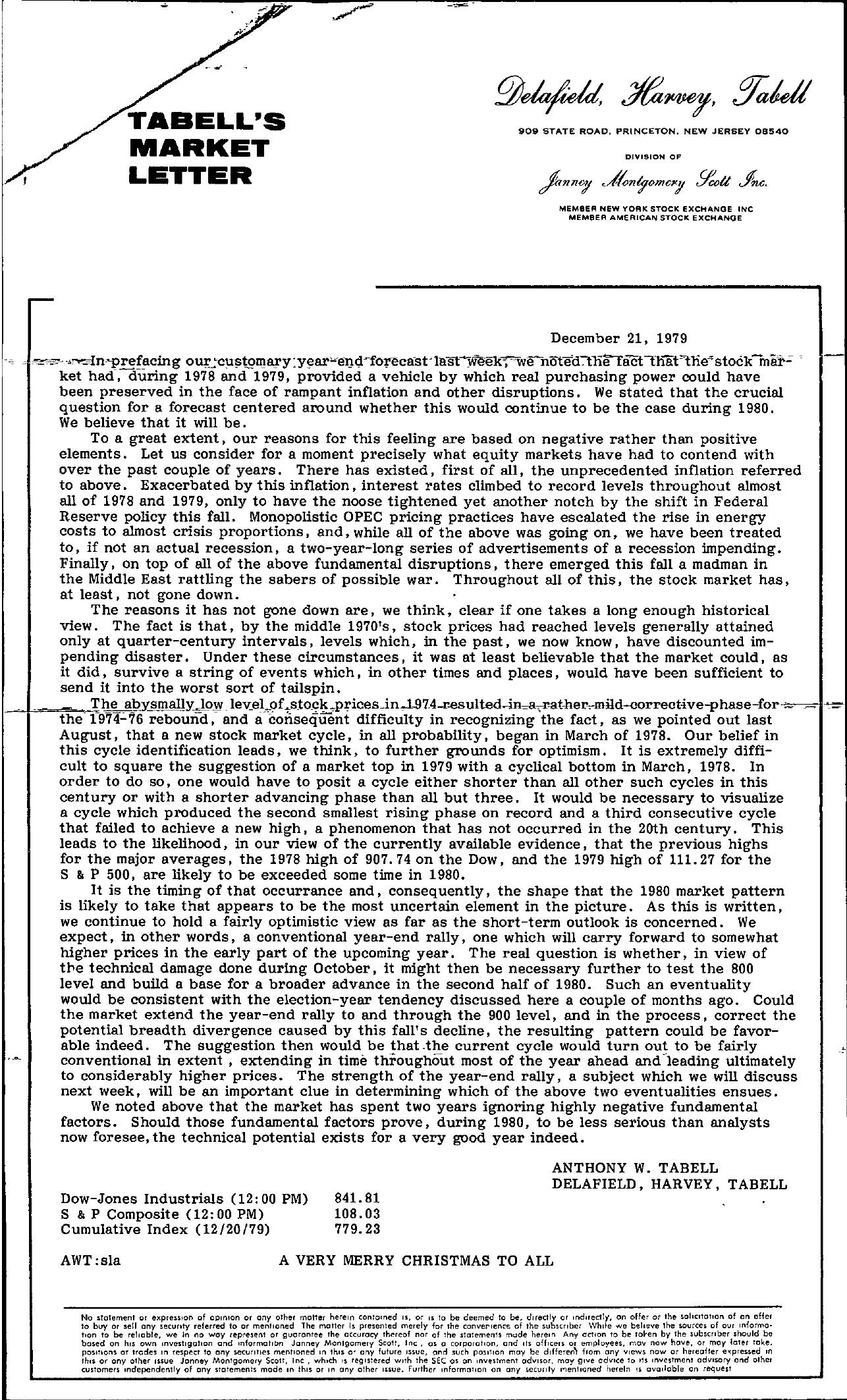 Tabell's Market Letter - December 21, 1979