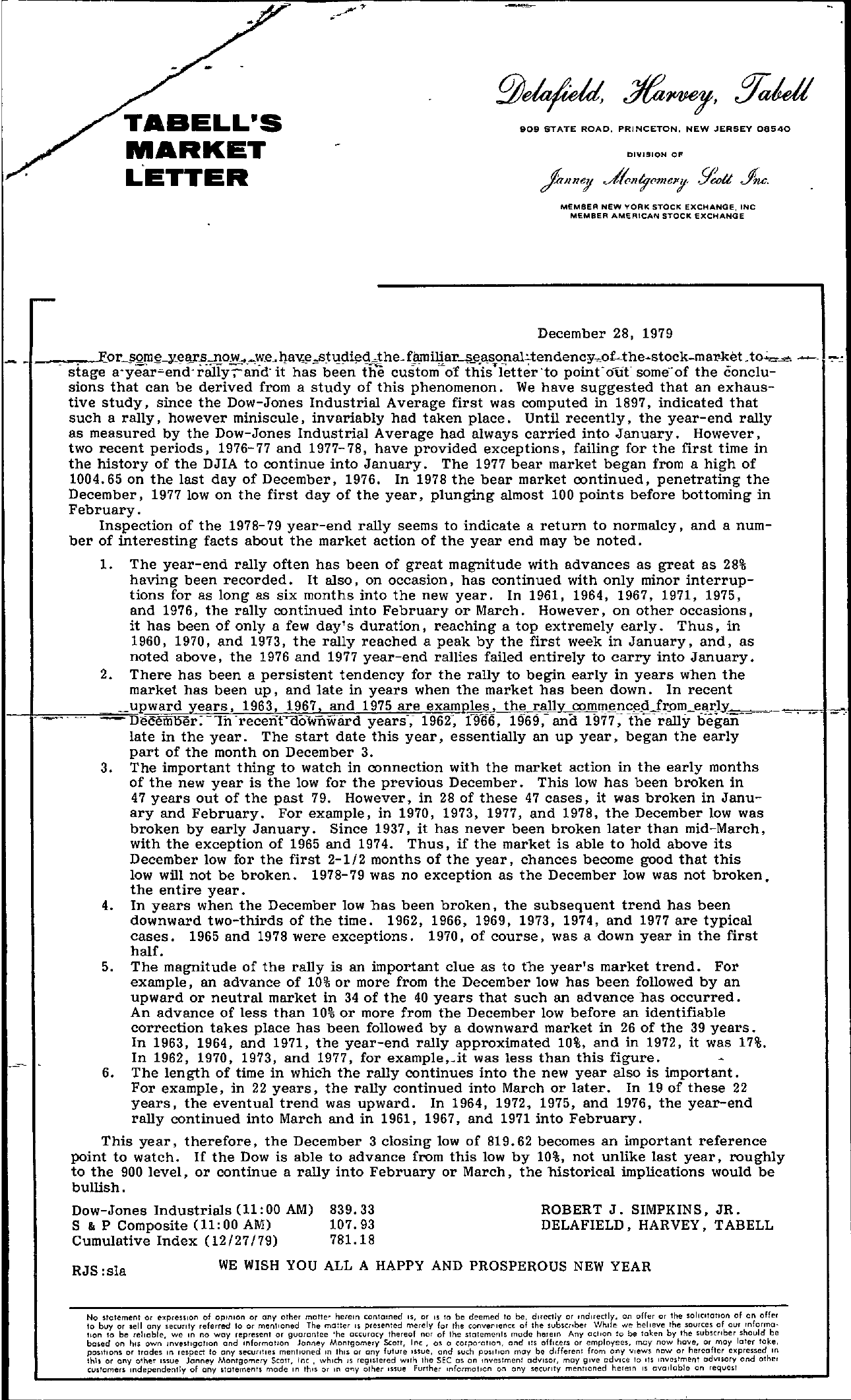 Tabell's Market Letter - December 28, 1979 page 1