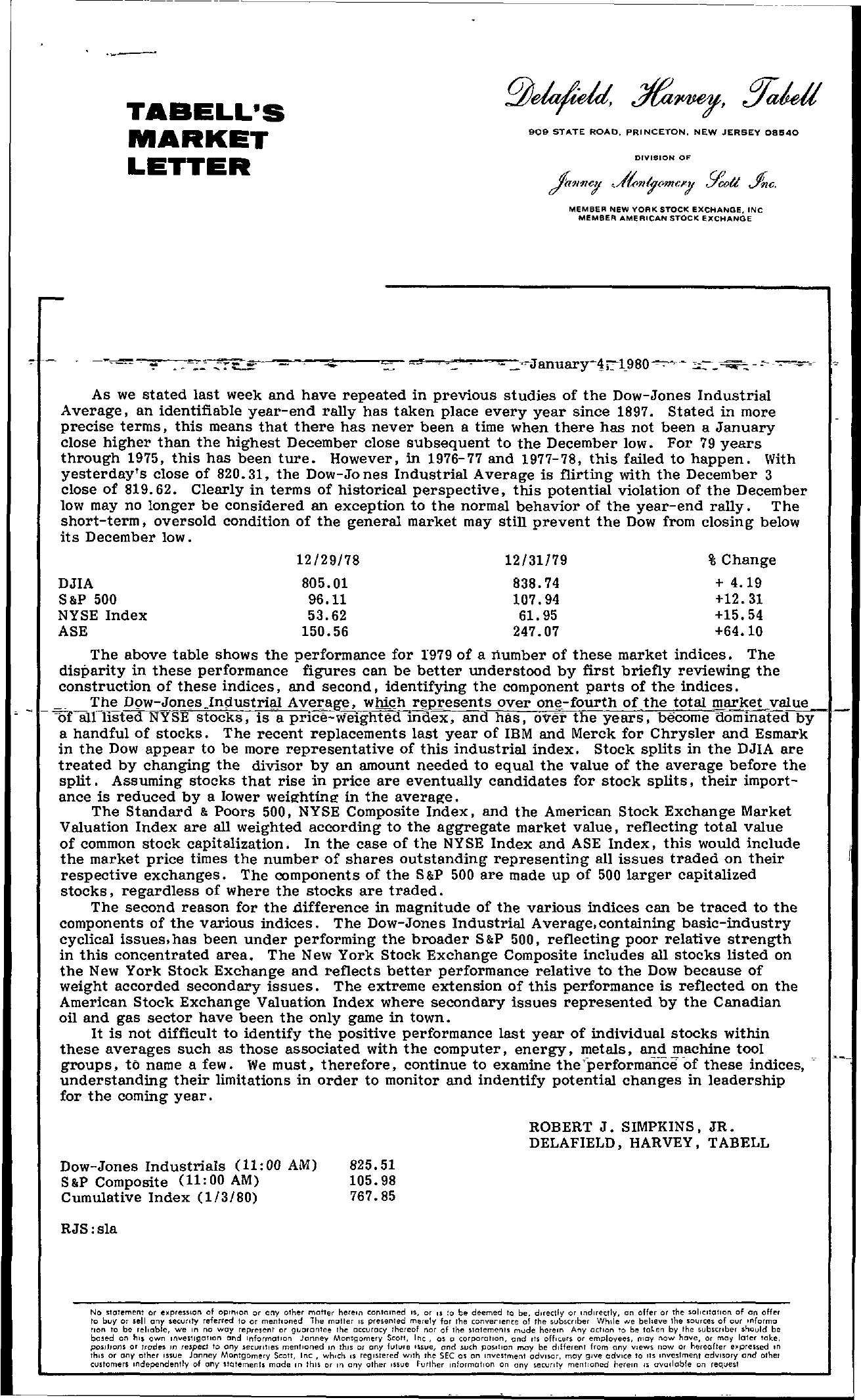 Tabell's Market Letter - January 04, 1980
