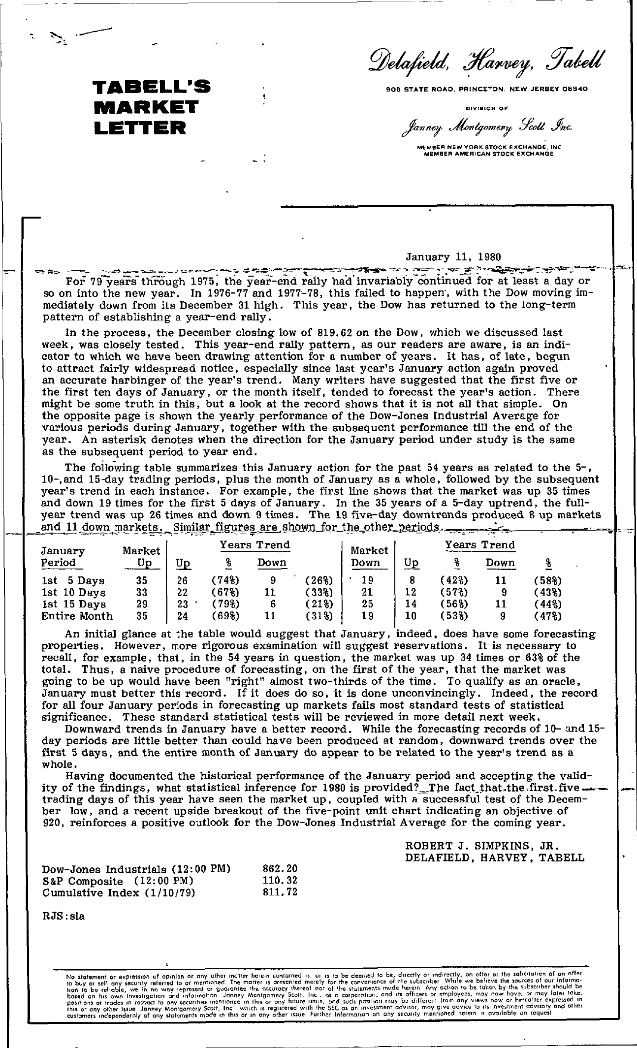Tabell's Market Letter - January 11, 1980 page 1