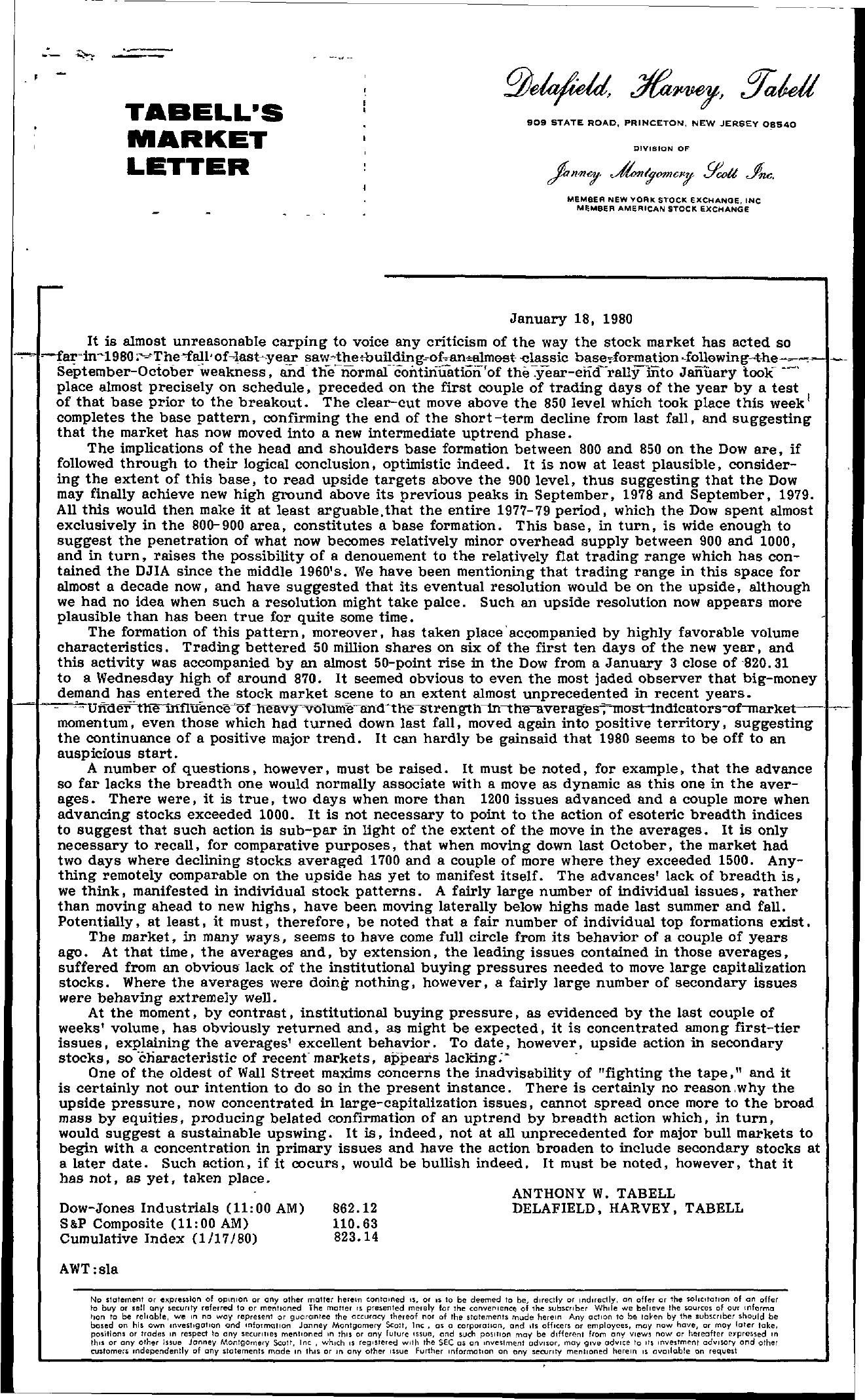 Tabell's Market Letter - January 18, 1980