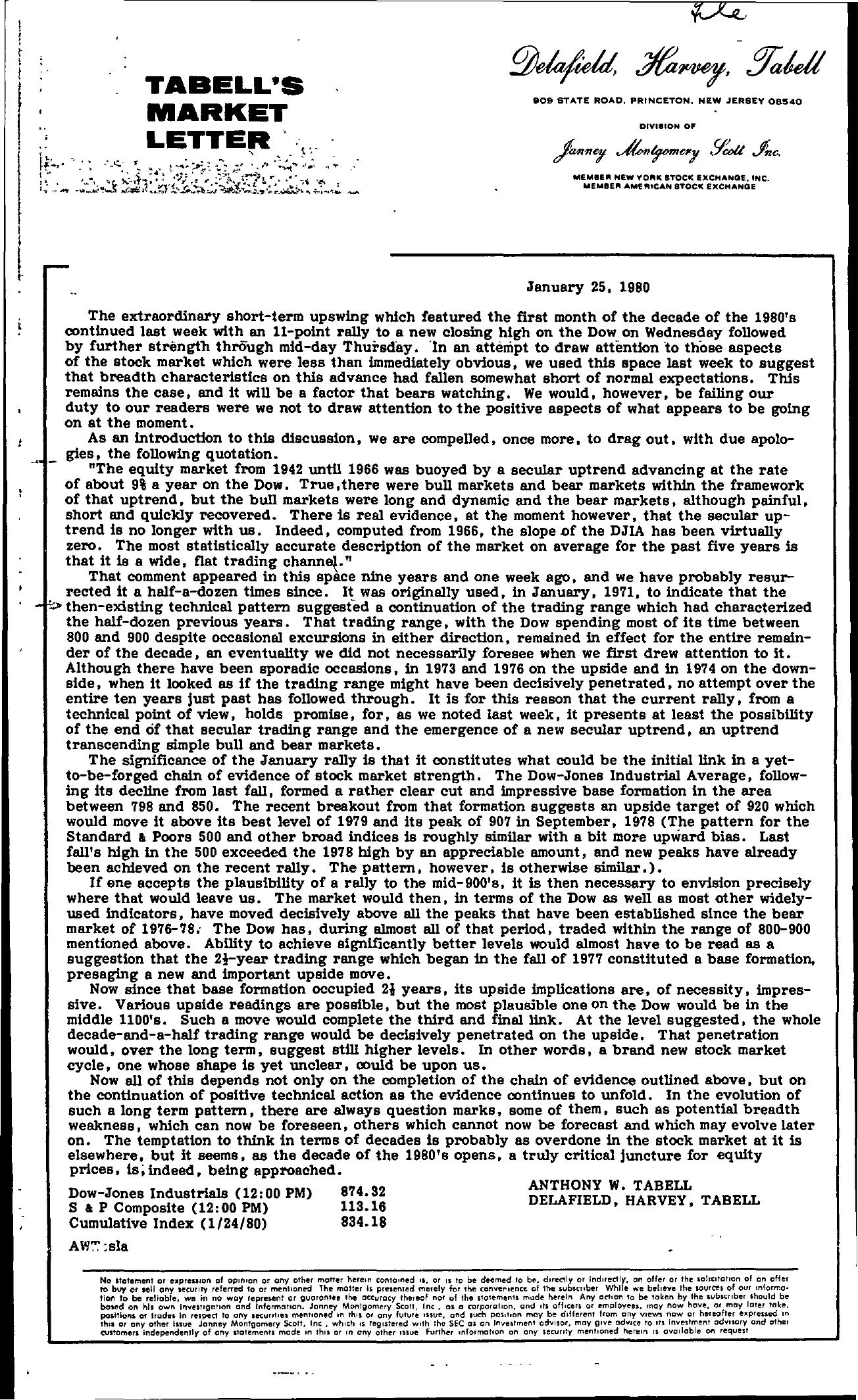 Tabell's Market Letter - January 25, 1980