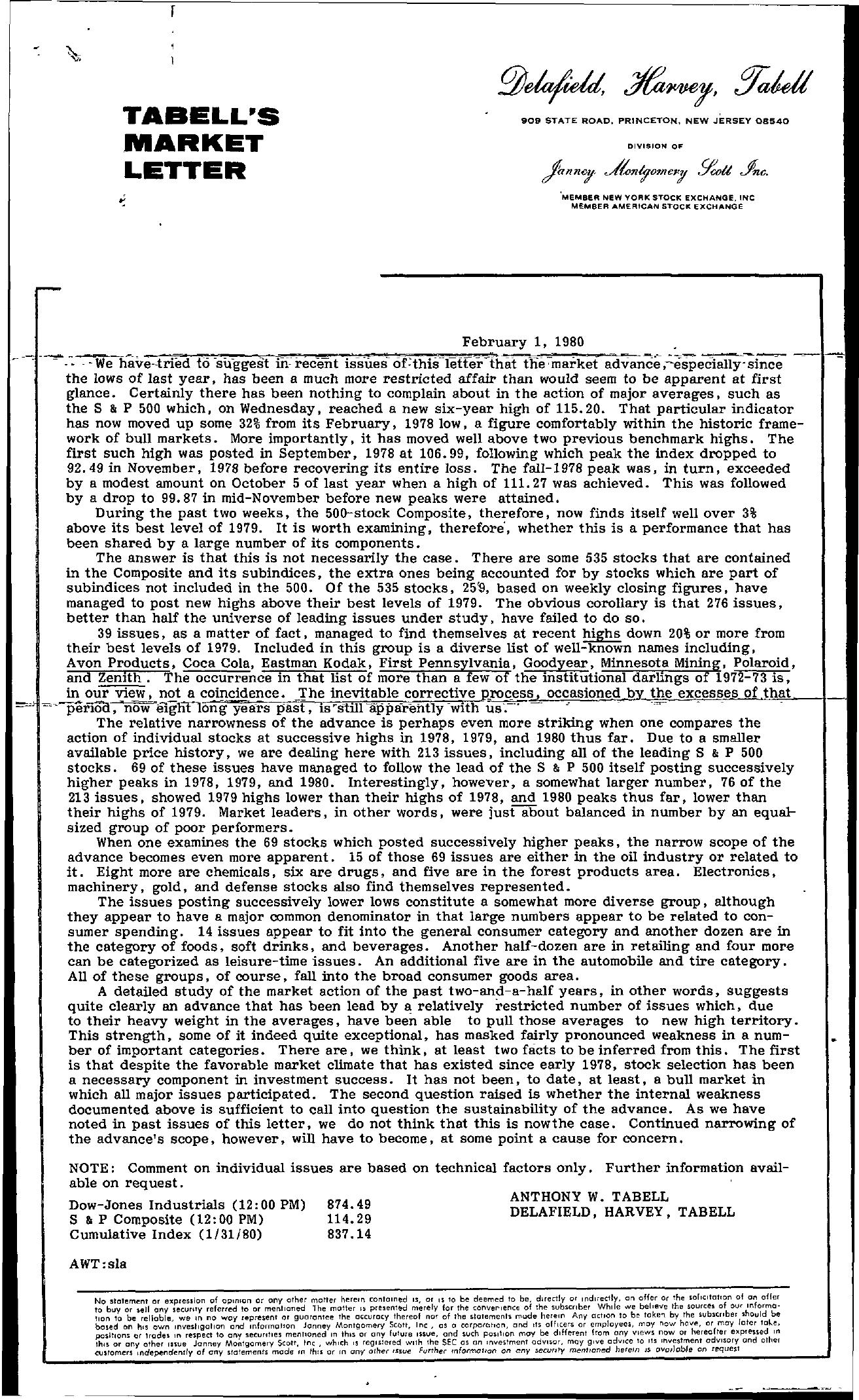 Tabell's Market Letter - February 01, 1980