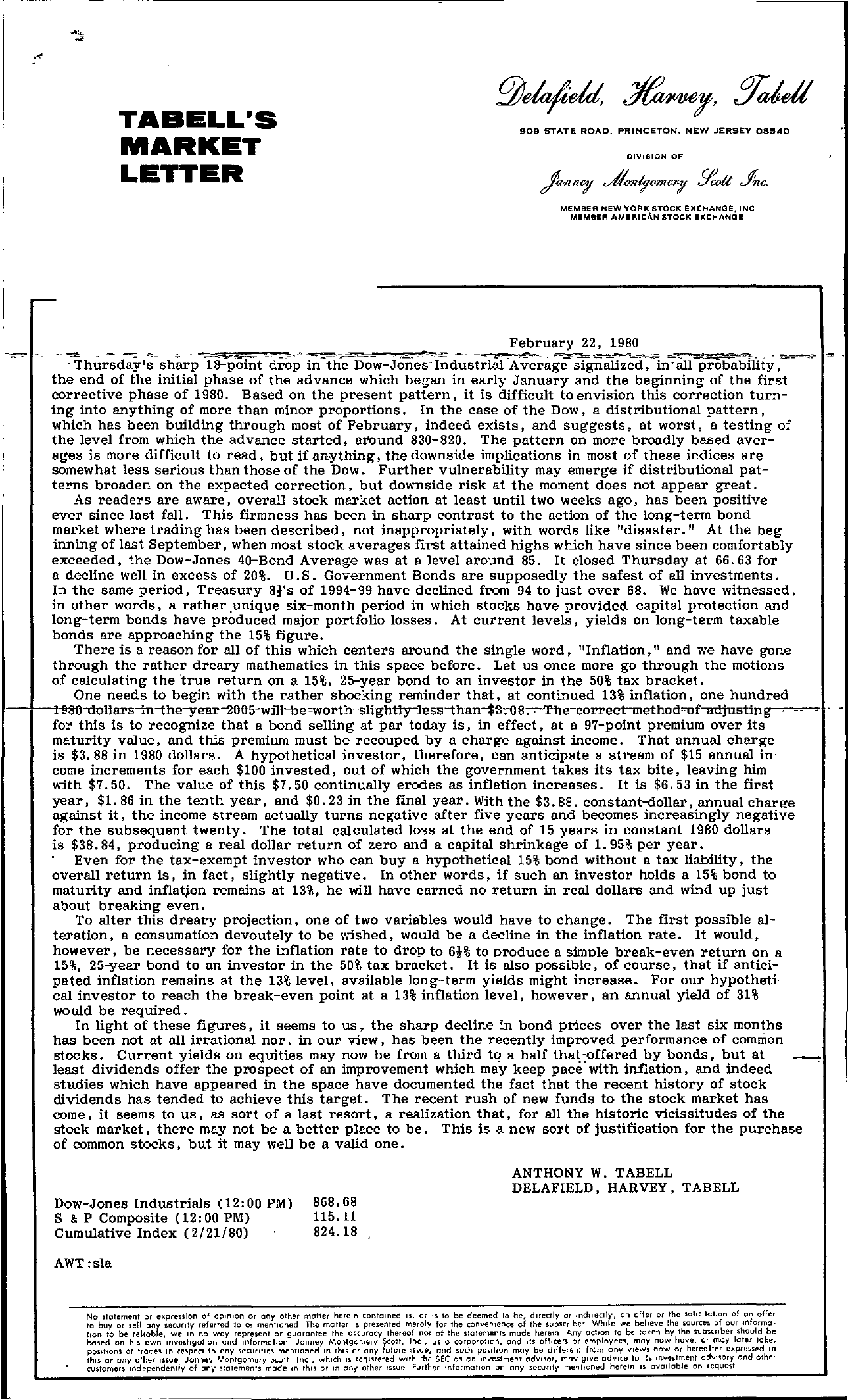 Tabell's Market Letter - February 22, 1980